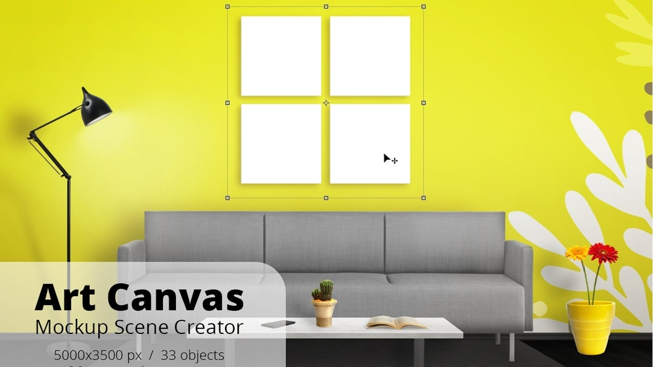 Art Canvas Mockup Scene Creator Overview – Youtube With Current Mockup Canvas Wall Art (View 2 of 15)