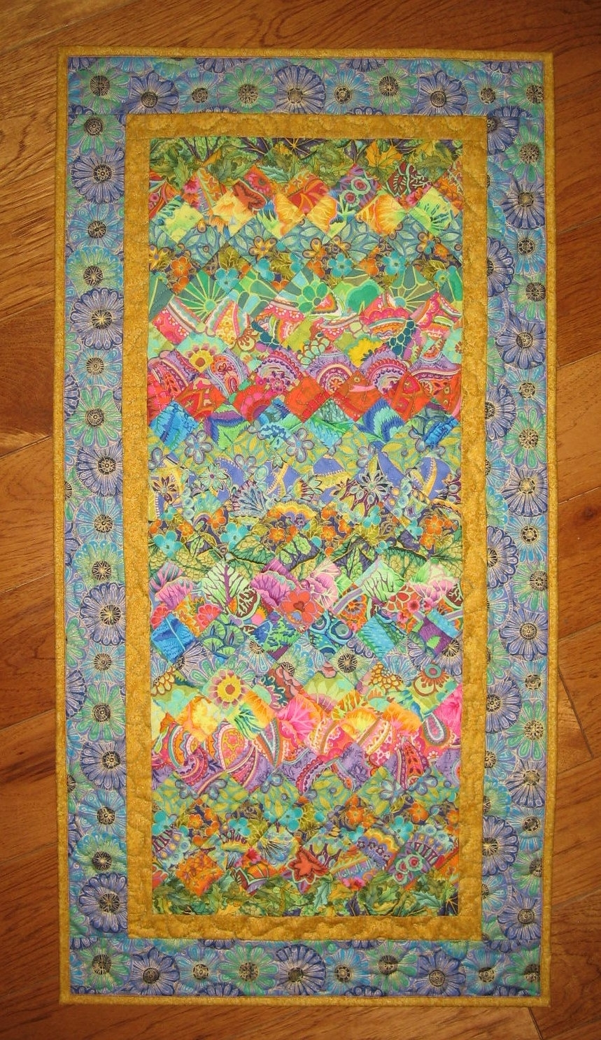 Art Deco Art Quilt, Paisley Turquoise, Orange, Yellow And Purple Within Most Popular Quilt Fabric Wall Art (View 3 of 15)