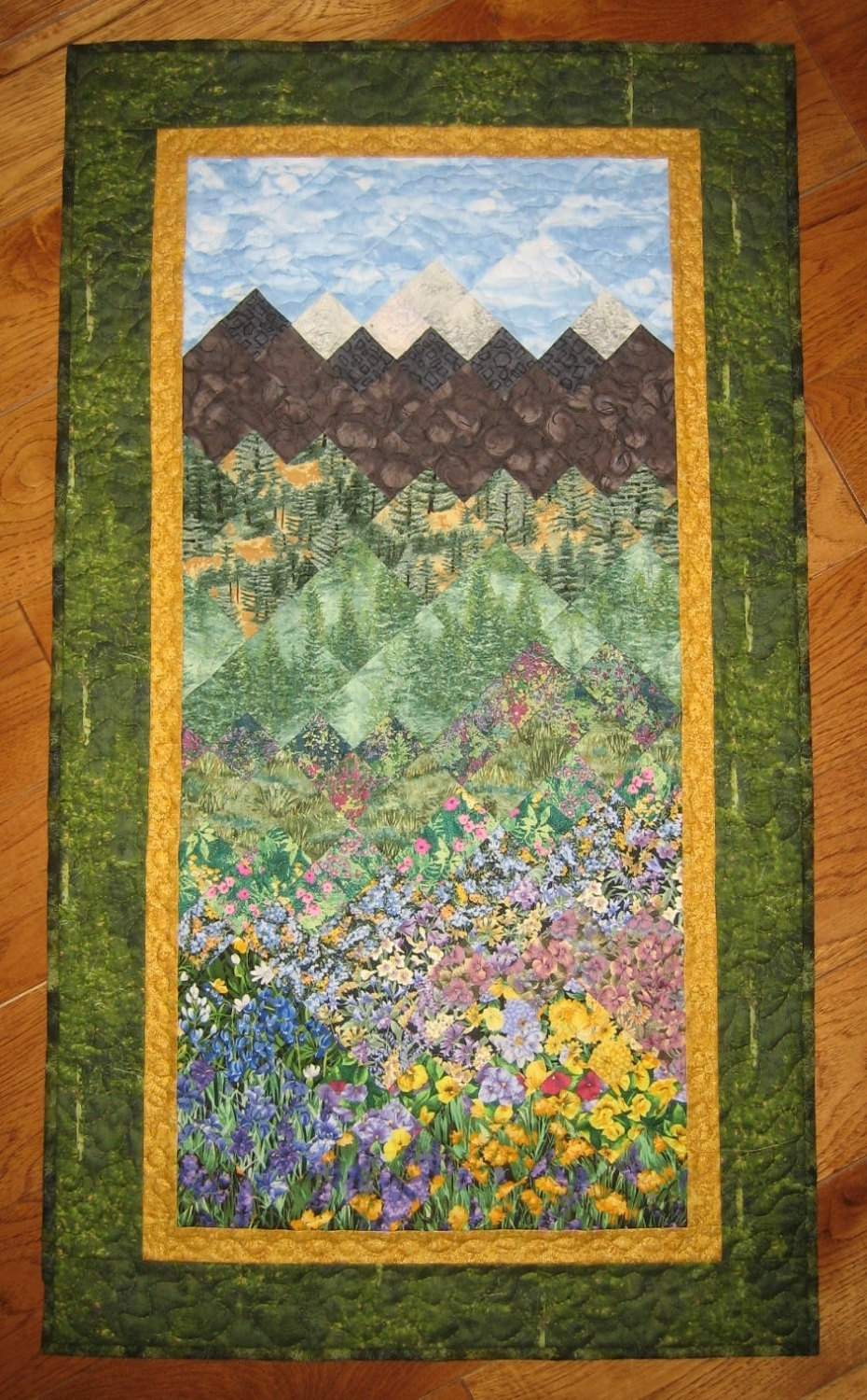 Art Quilt Fabric Wallhanging Pine Trees Mountain Flowers Handmade Pertaining To Most Recently Released Quilt Fabric Wall Art (View 13 of 15)
