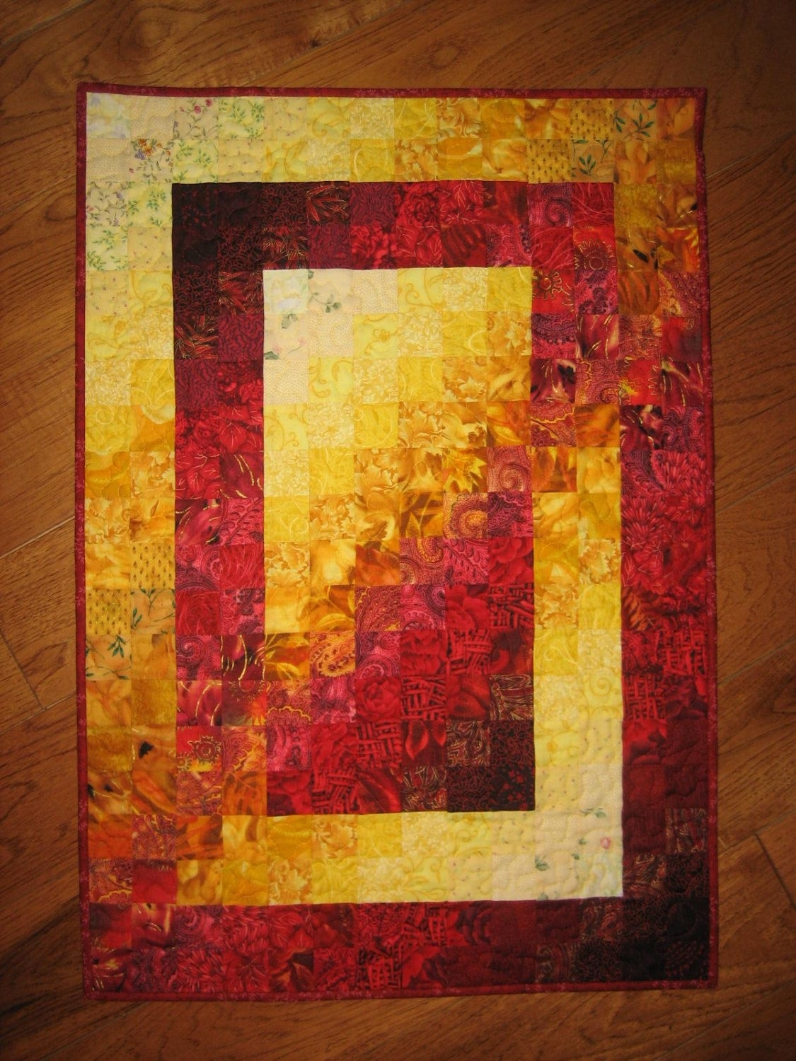 Art Quilt, Fire Red Yellow Orange Fabric Wall Hanging Abstract Within Most Popular Red Fabric Wall Art (View 2 of 15)