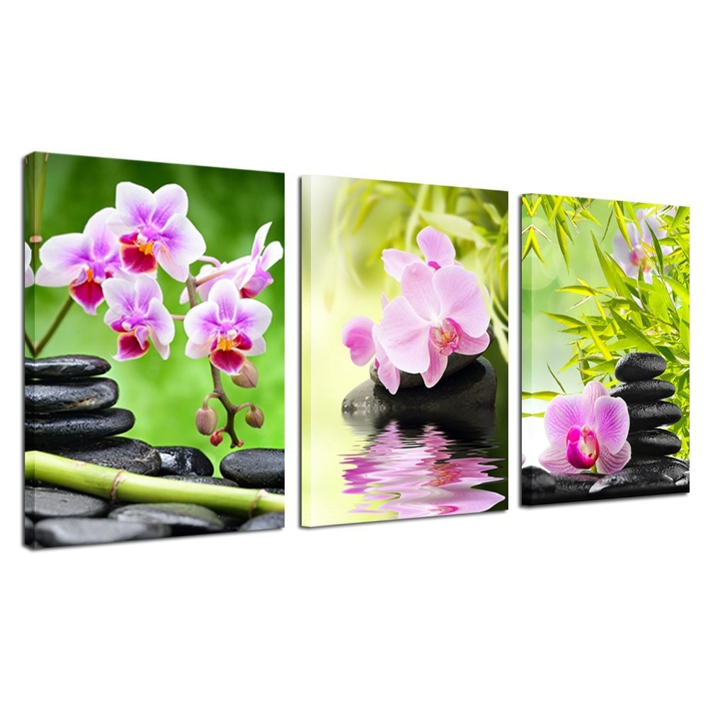 Art Wall Decor Canvas Painting Orchid Flower Bamboo Stone 3 Pieces Throughout Current Orchid Canvas Wall Art (View 2 of 15)