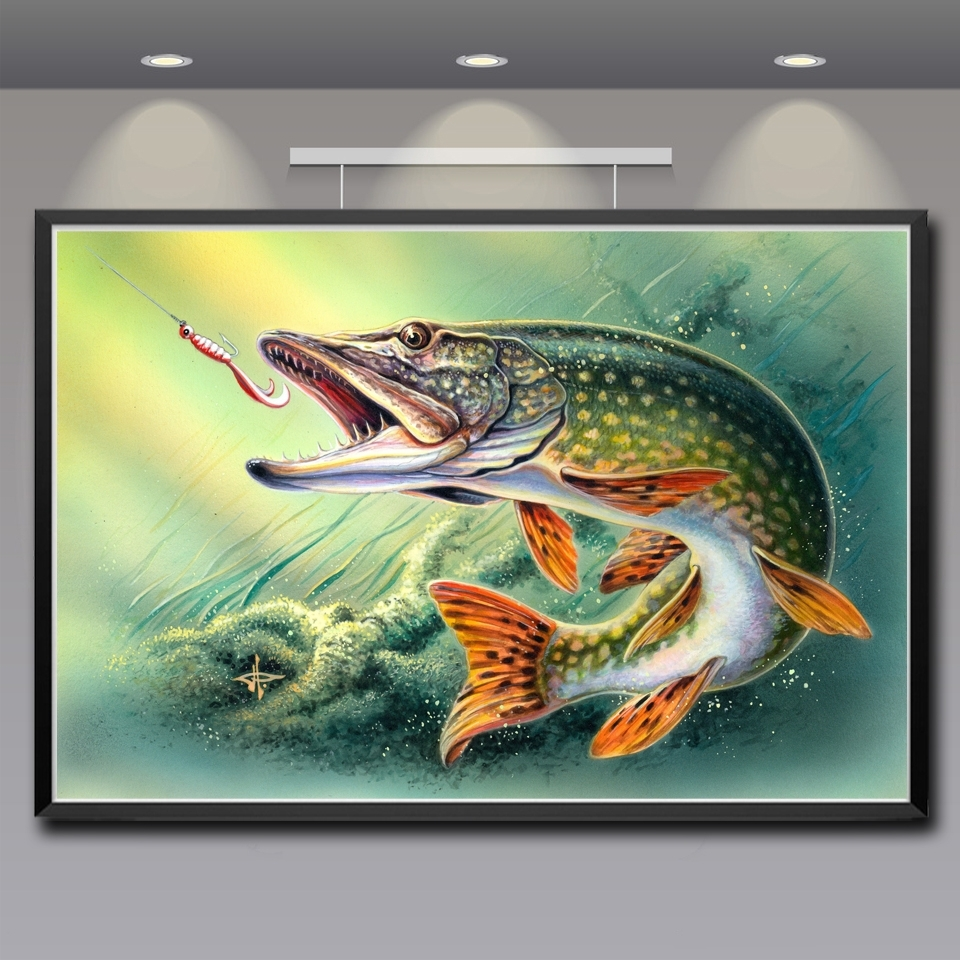Artwork Animals Fish Water Art Silk Fabric Poster Prints Home Wall In 2018 Silk Fabric Wall Art (View 3 of 15)