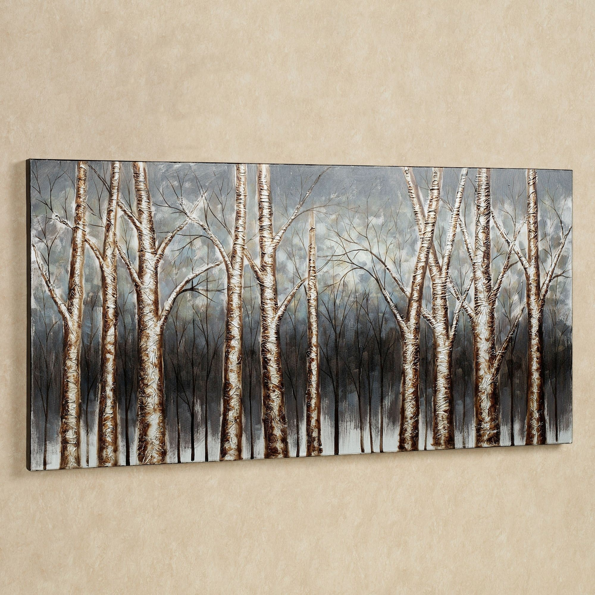 Aspen Tree Grove Handpainted Canvas Art With Latest Canvas Wall Art Of Trees (View 2 of 15)