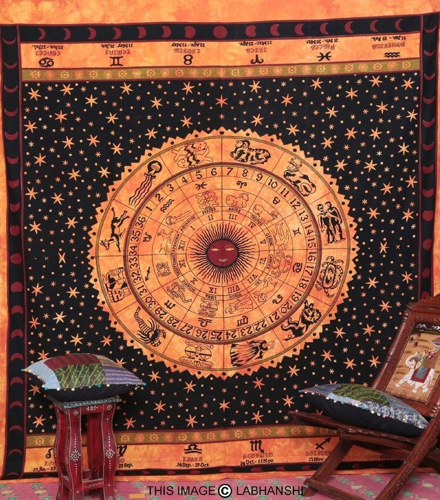 Astrology Tapestry Zodiac Indian Wall Hanging Orange Bedspread Throughout 2017 Indian Fabric Art Wall Hangings (View 3 of 15)