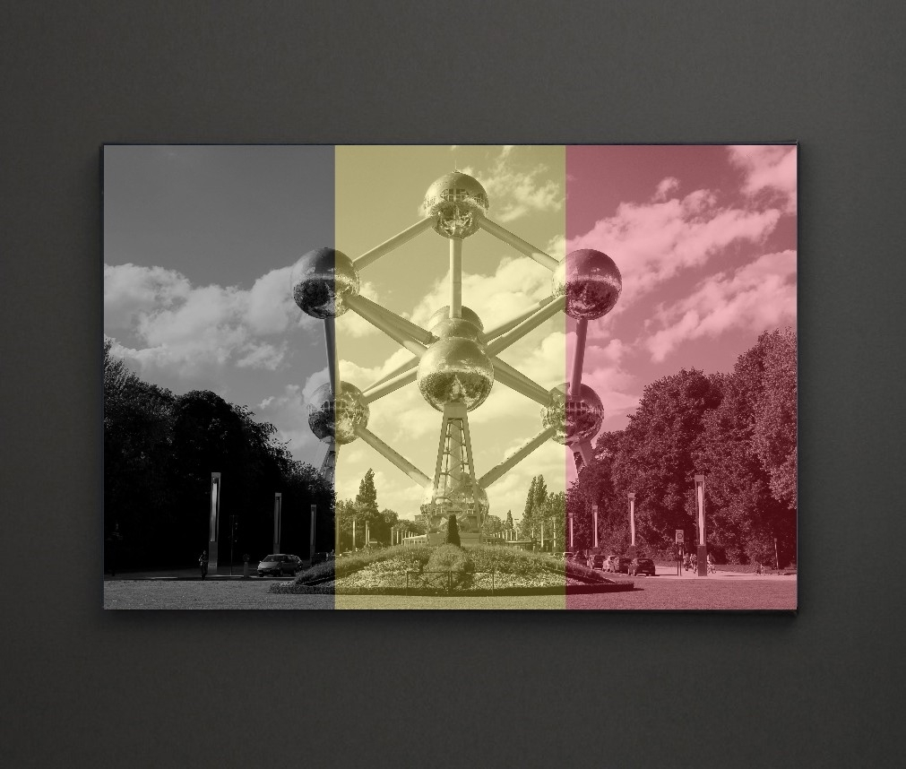 Atomium Belgium Flag A4 Framed/box Canvas A4 A3 A2 A1 Gift Ideas Within Recent Leadgate Canvas Wall Art (View 1 of 15)