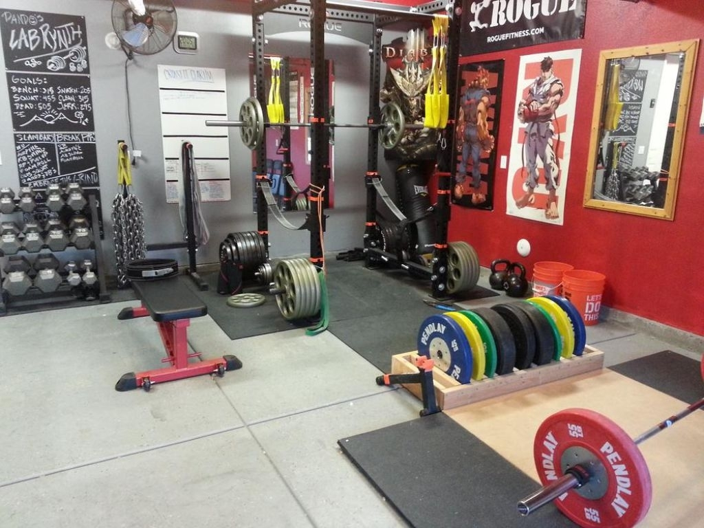 Awesome Garage Gym With Wall Accent And Posters | Ideas For The Intended For Latest Garage Wall Accents (View 2 of 15)