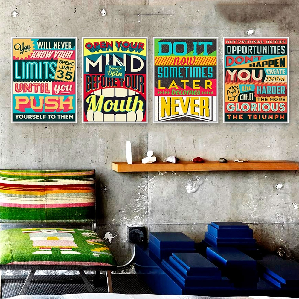 Azqsd Quotes Vintage Retro A4 Large Art Print Poster Inspiration With Regard To Current Retro Canvas Wall Art (View 3 of 15)