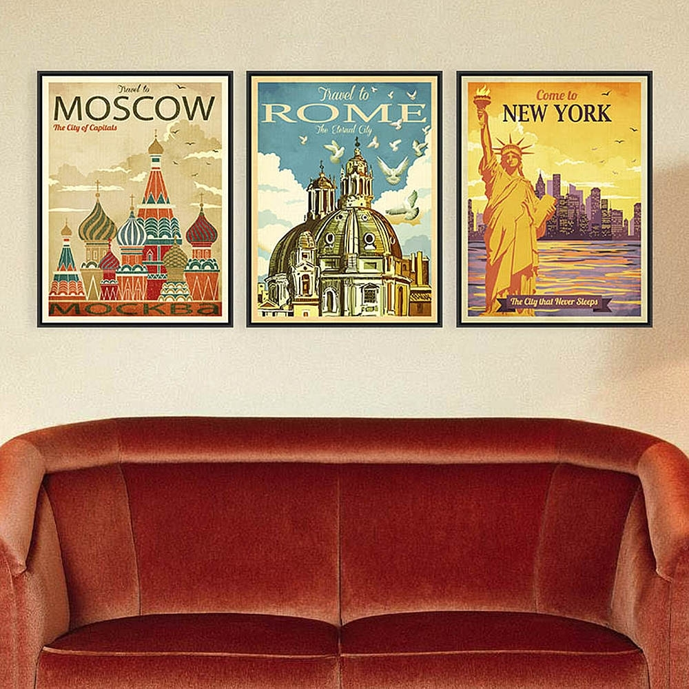 Azqsd Triptych Vintage City Art Prints Poster New York Rome Moscow Throughout 2018 Canvas Wall Art Of Rome (Gallery 13 of 15)
