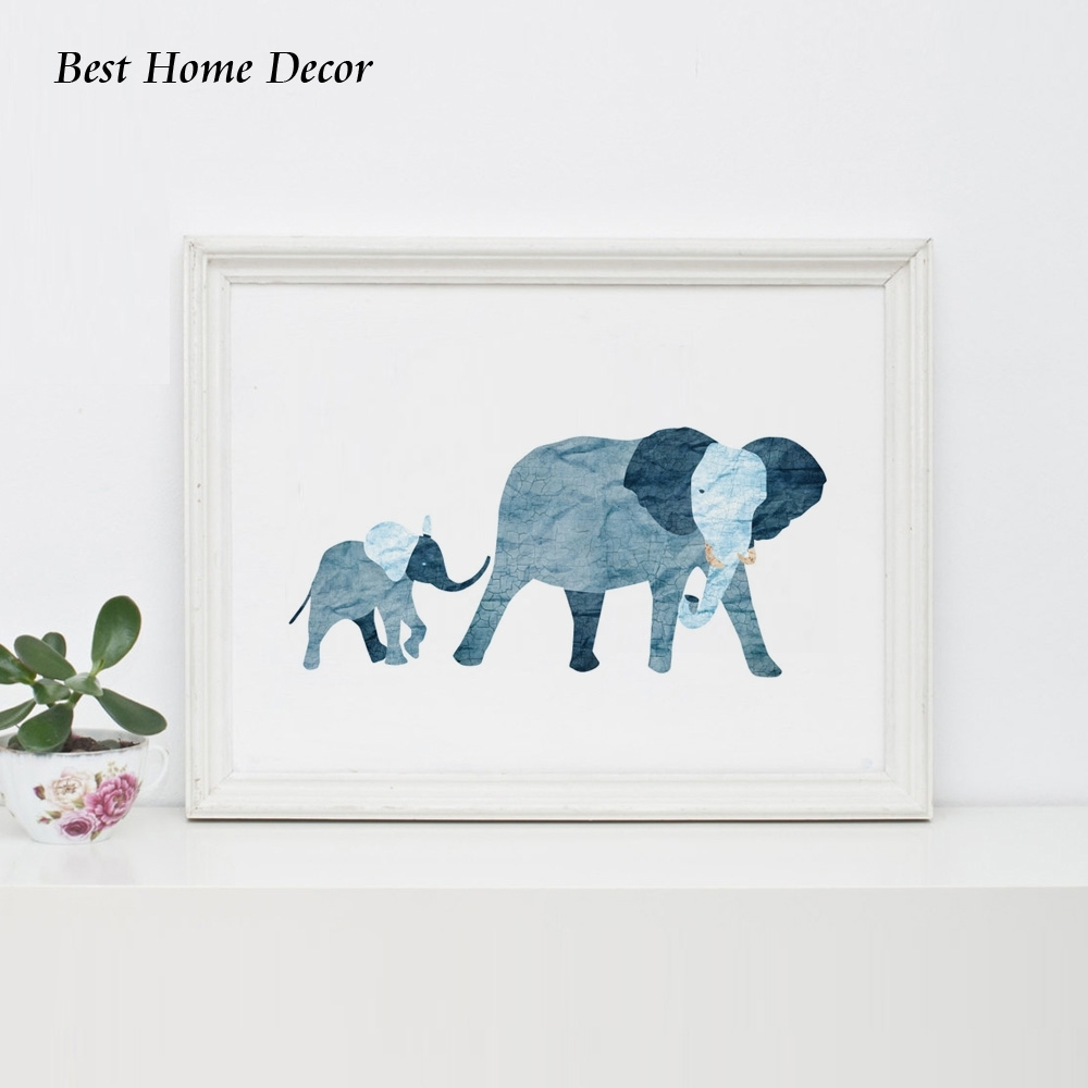 Baby Blue Elephant Art Print Nursery Art Blue Baby Elephant Family With Latest Framed Animal Art Prints (View 5 of 15)