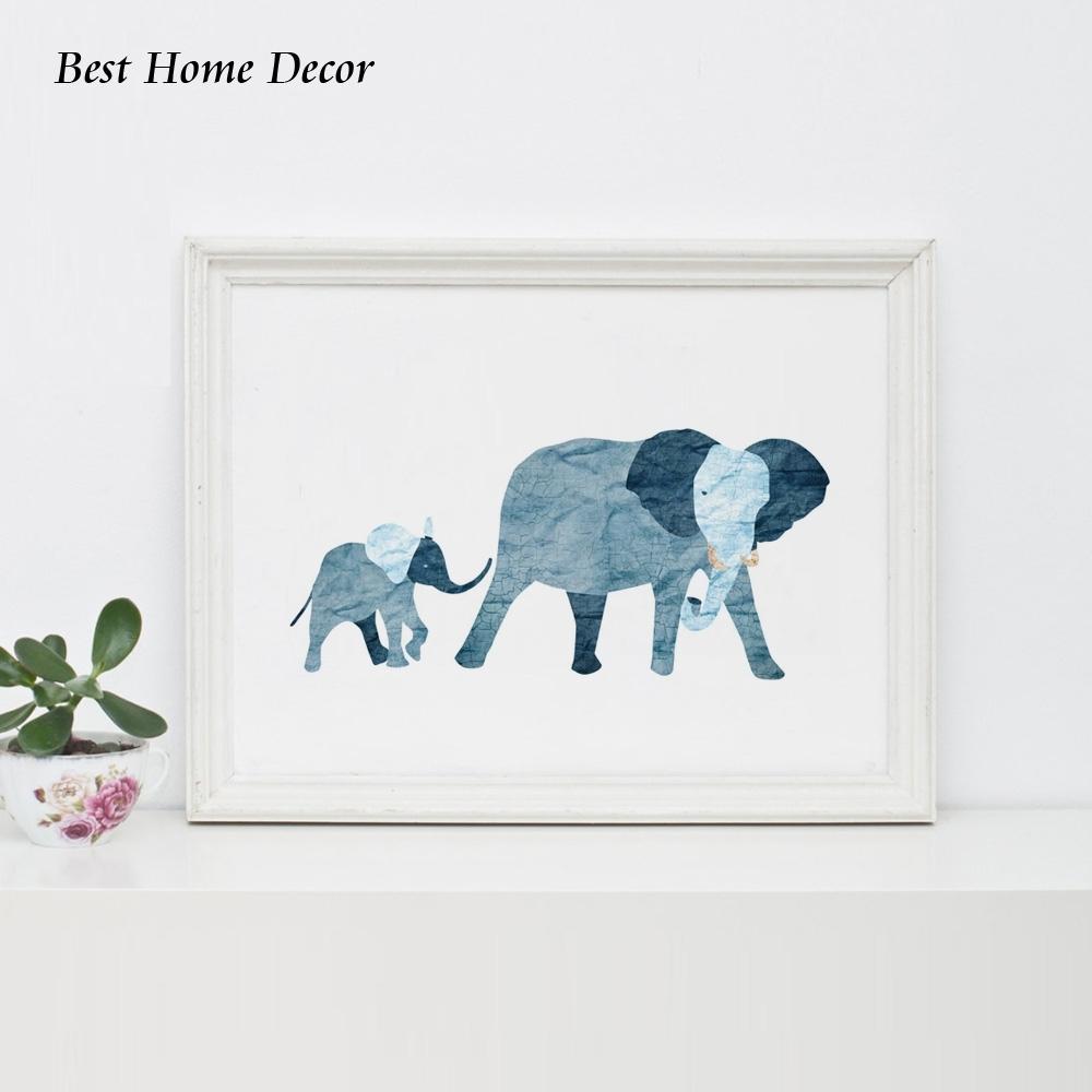 Baby Blue Elephant Art Print Nursery Art Blue Baby Elephant Family With Latest Framed Animal Art Prints (View 3 of 15)