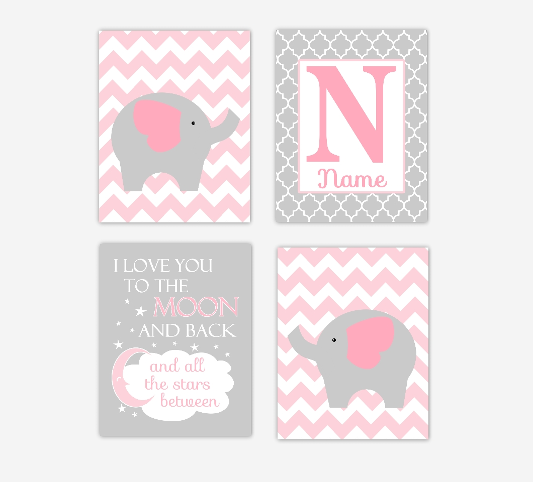 Baby Girls Nursery Canvas Wall Art Pink Gray Grey I Love You To Regarding 2017 Nursery Canvas Wall Art (View 5 of 15)