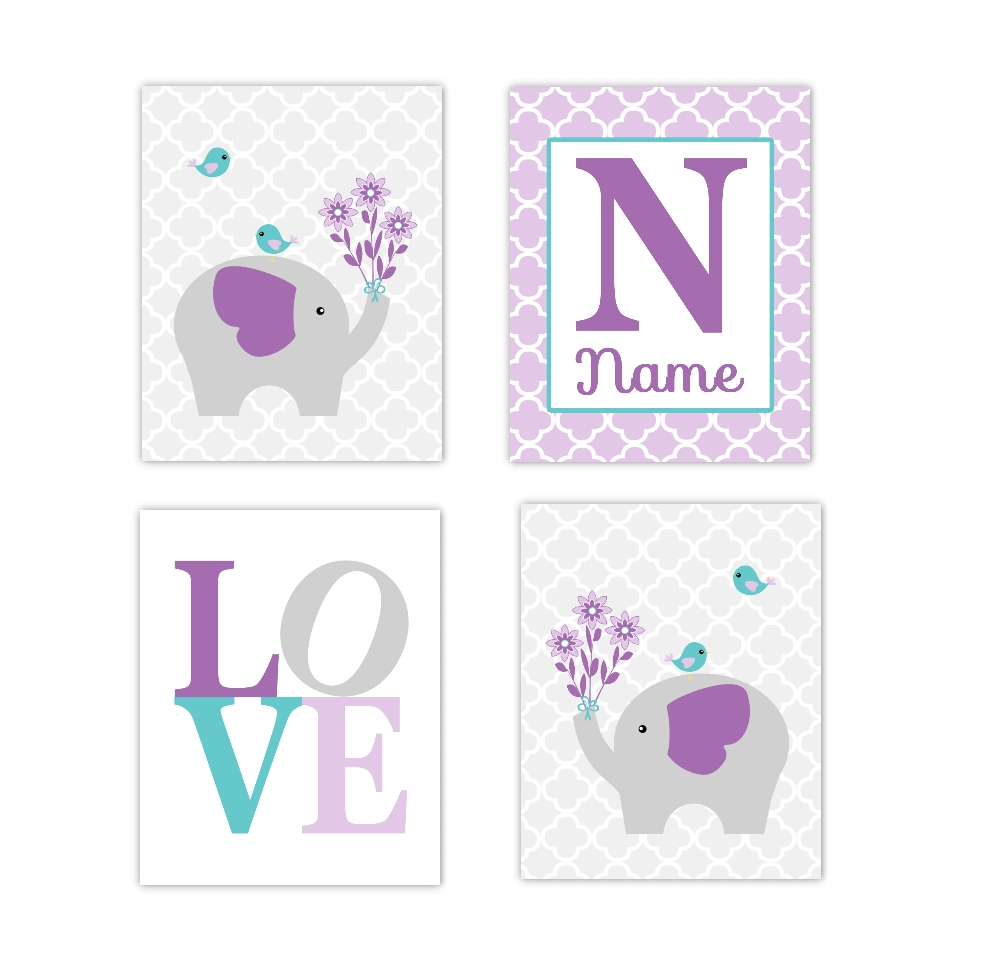 Baby Girls Nursery Canvas Wall Art Purple Lavender Teal Aqua Gray With Best And Newest Personalized Nursery Canvas Wall Art (View 1 of 15)