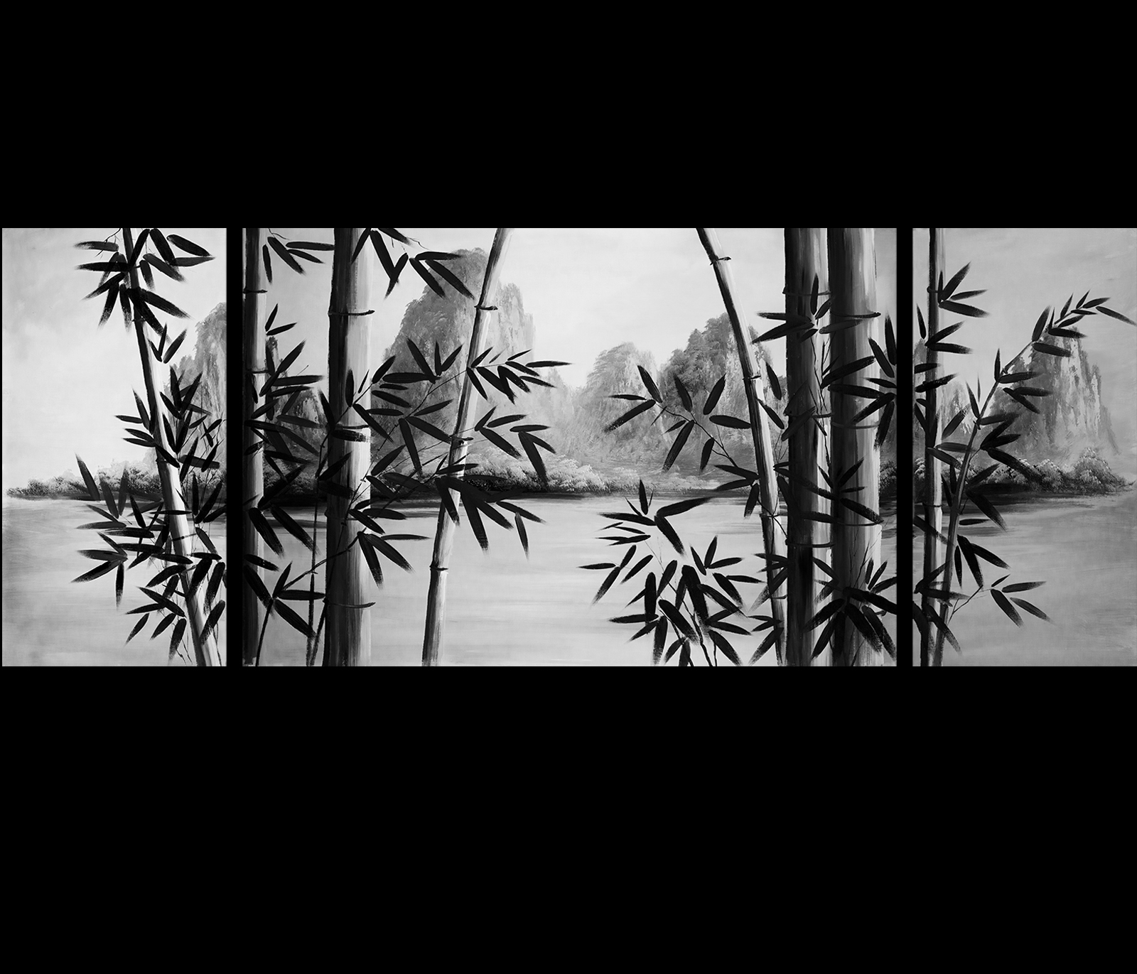 Bamboo Painting, Bamboo Paintings | Bamboo Paintings | Pinterest Pertaining To Most Recent Black And White Photography Canvas Wall Art (View 6 of 15)