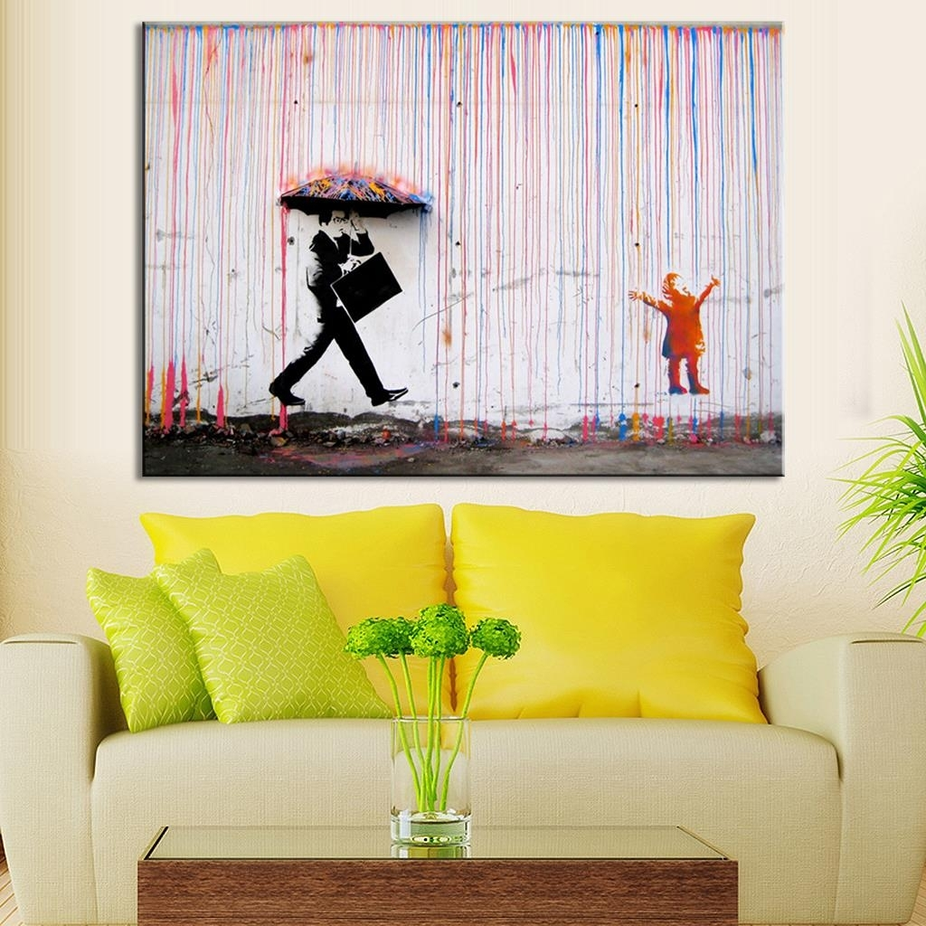 Banksy Art Colorful Rain Wall Canvas Wall Art Living Room Wall Intended For Latest Living Room Canvas Wall Art (View 2 of 15)