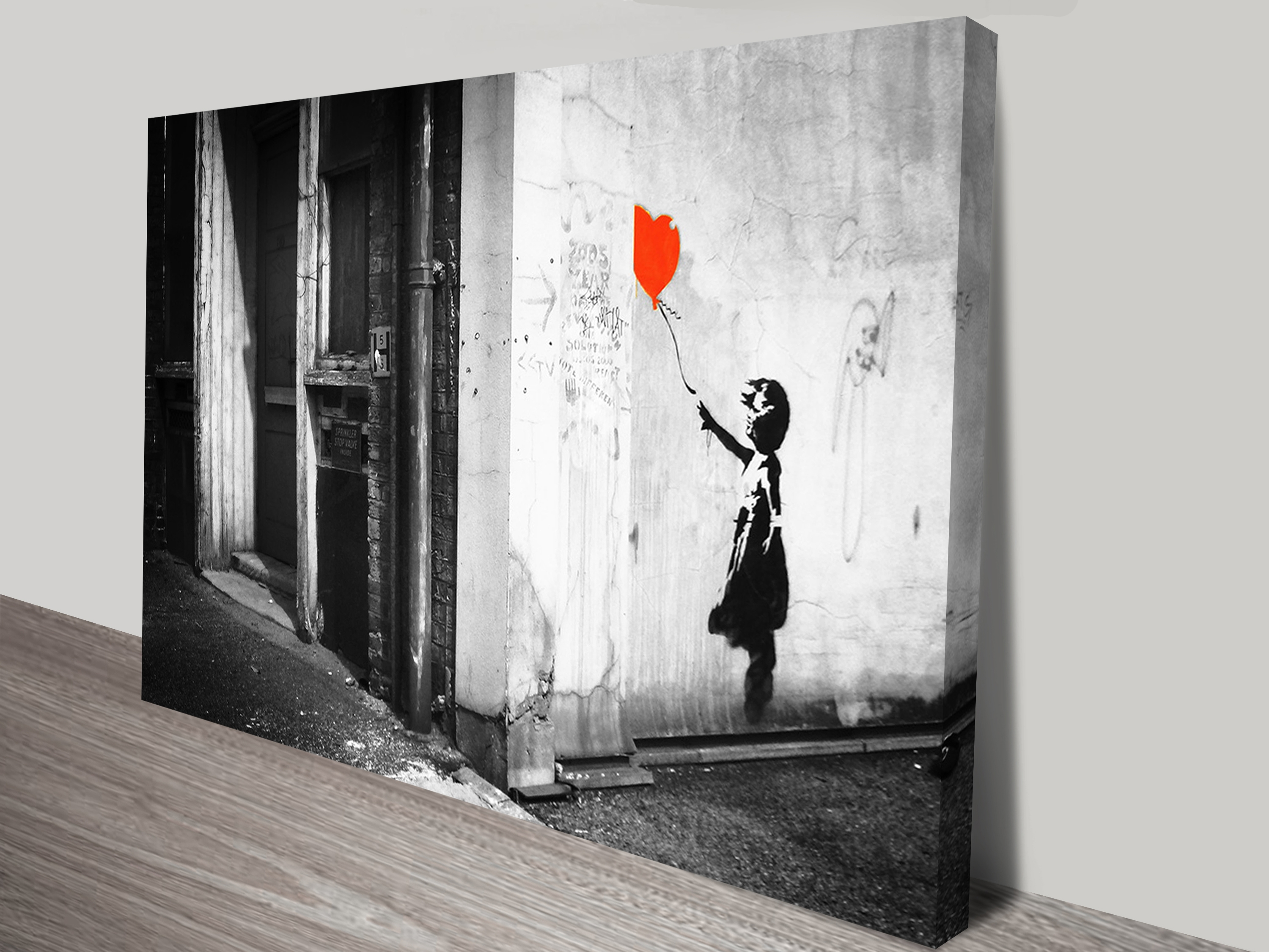 Banksy Balloon Girl Black & White Print On Canvas Regarding Best And Newest Canvas Wall Art Of Perth (View 2 of 15)