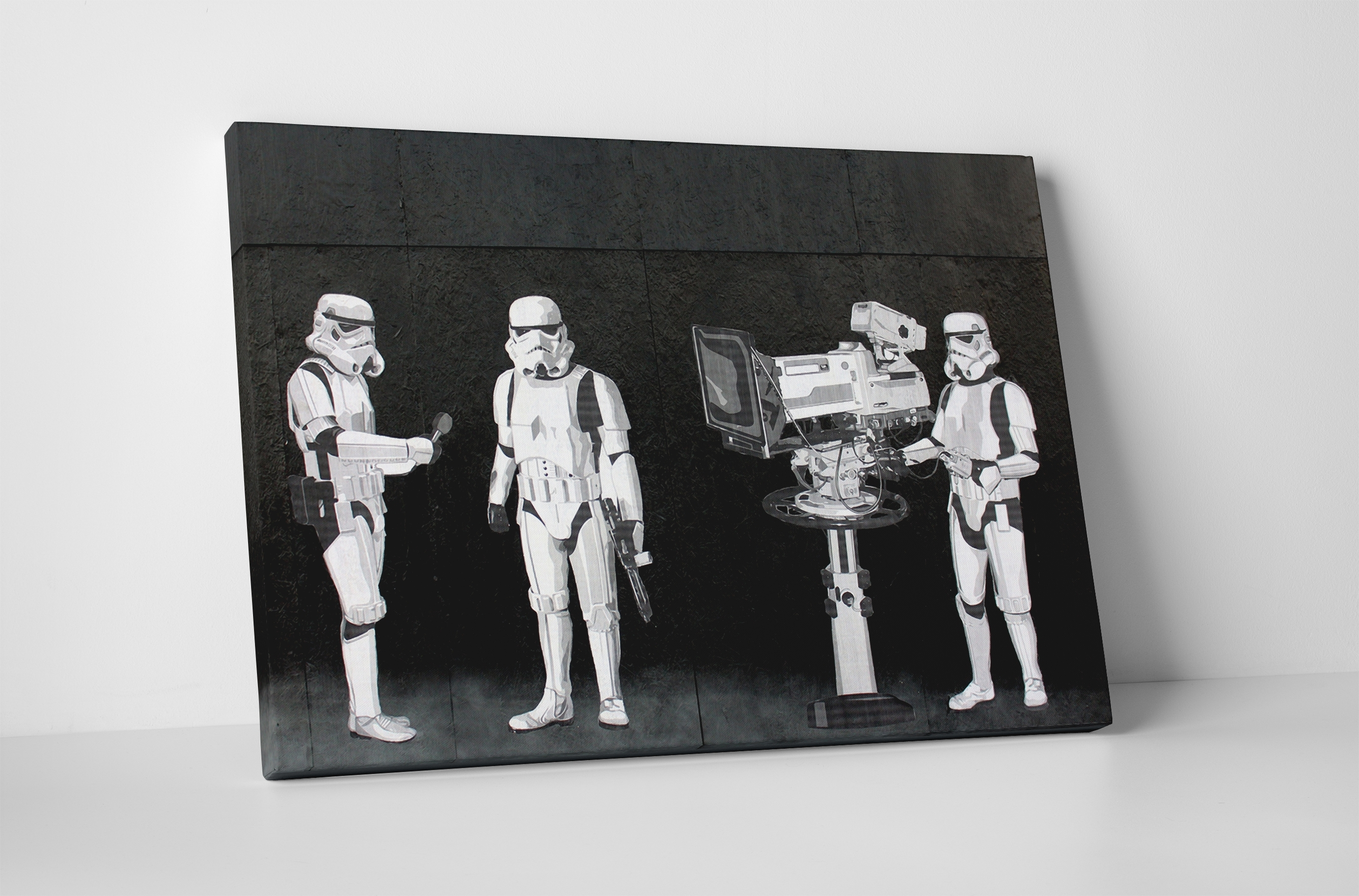 Banksy Stormtroopers Filming Oscars Canvas Wall Art Regarding Most Up To Date Movies Canvas Wall Art (View 10 of 15)