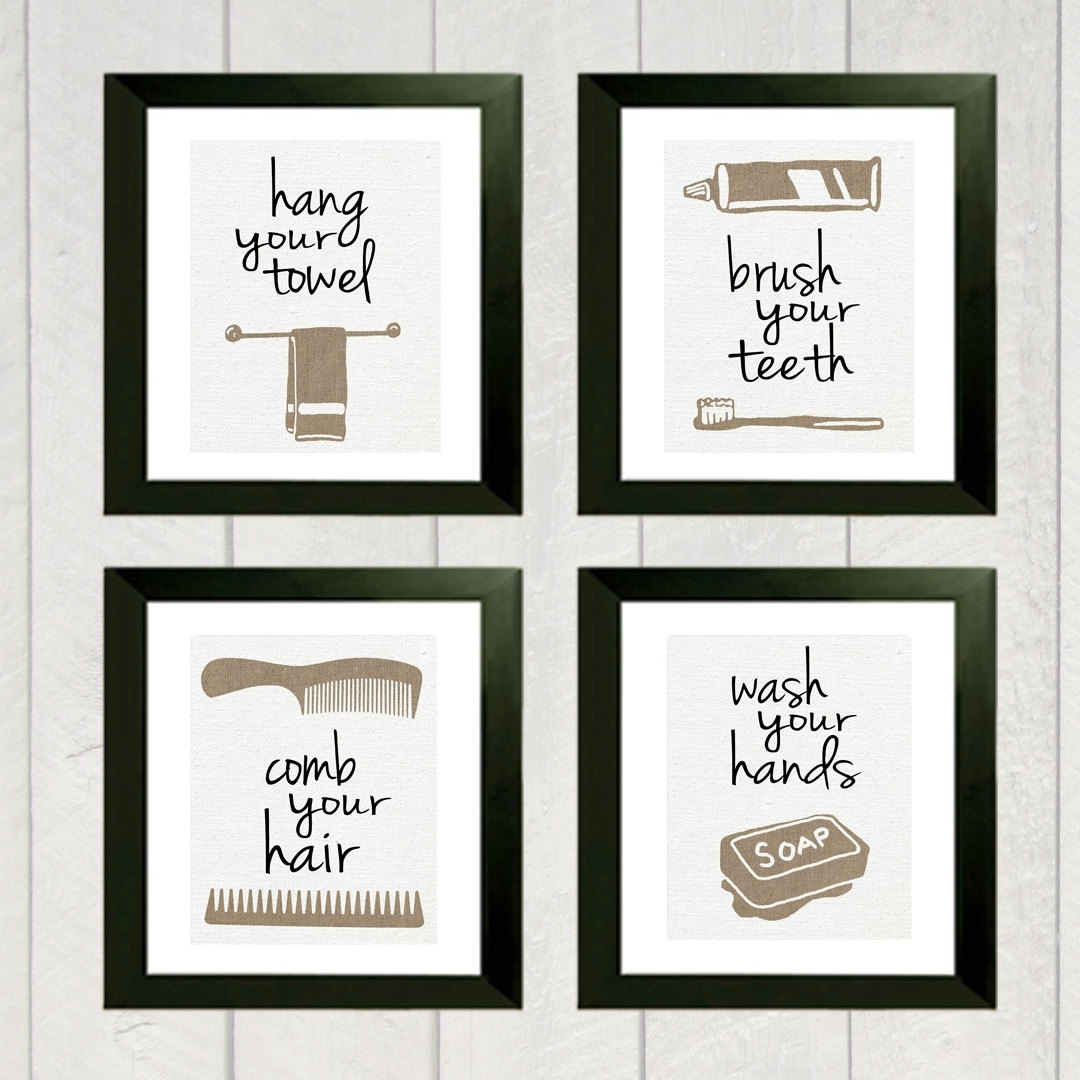 Bathroom Art Print – Set Of 4 | Bathroom Art, Etsy And Printing Throughout 2018 Vintage Bath Framed Art Prints Set Of  (View 2 of 15)