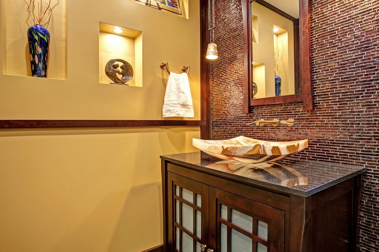 Bathroom | Brick Look Asian Inspired Powder Room Accent Wall Throughout Recent Asian Wall Accents (View 5 of 15)