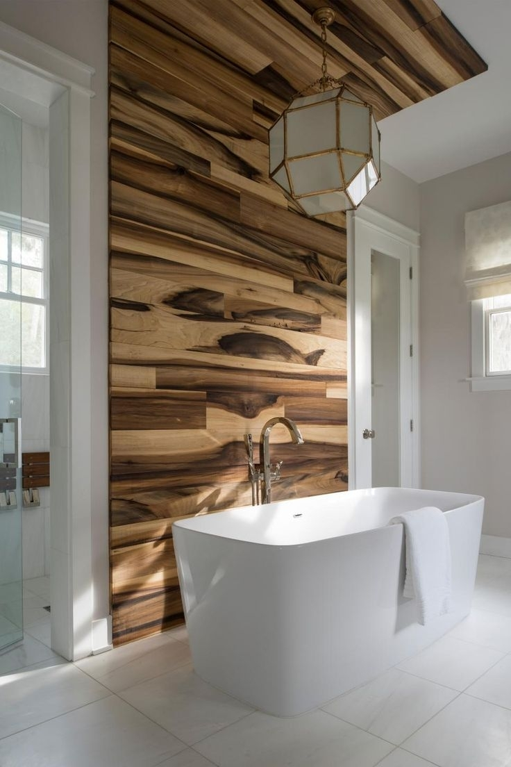 Bathroom Tile Accent Wall Ideas | Creative Bathroom Decoration With Regard To Best And Newest Wooden Wall Accents (View 3 of 15)