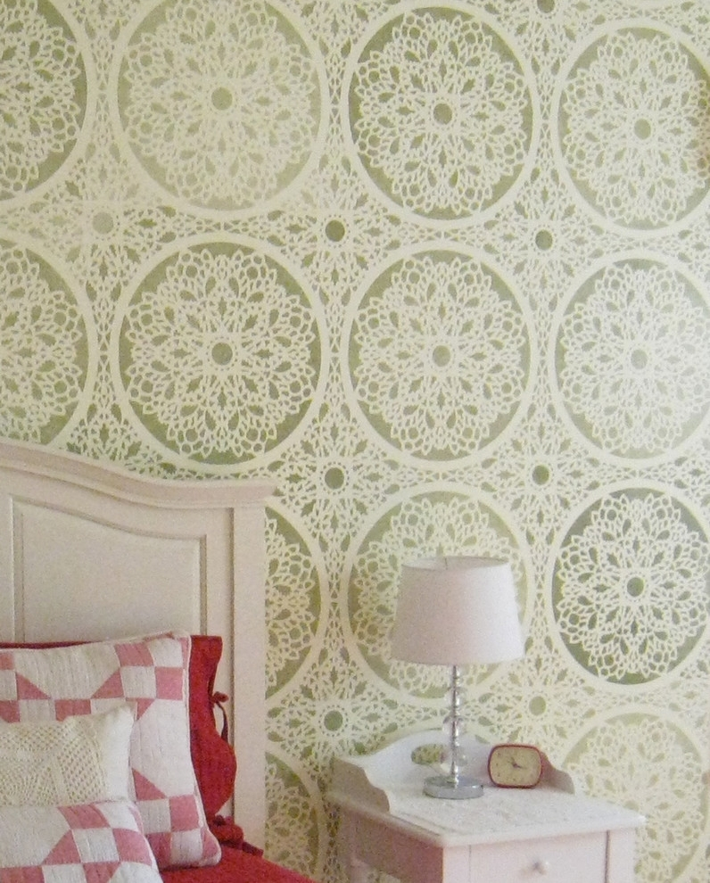 Bathroom Wall Stencil Ideas Bedroom Farmhouse With Decorative Wall For Current Wallpaper Wall Accents (View 13 of 15)