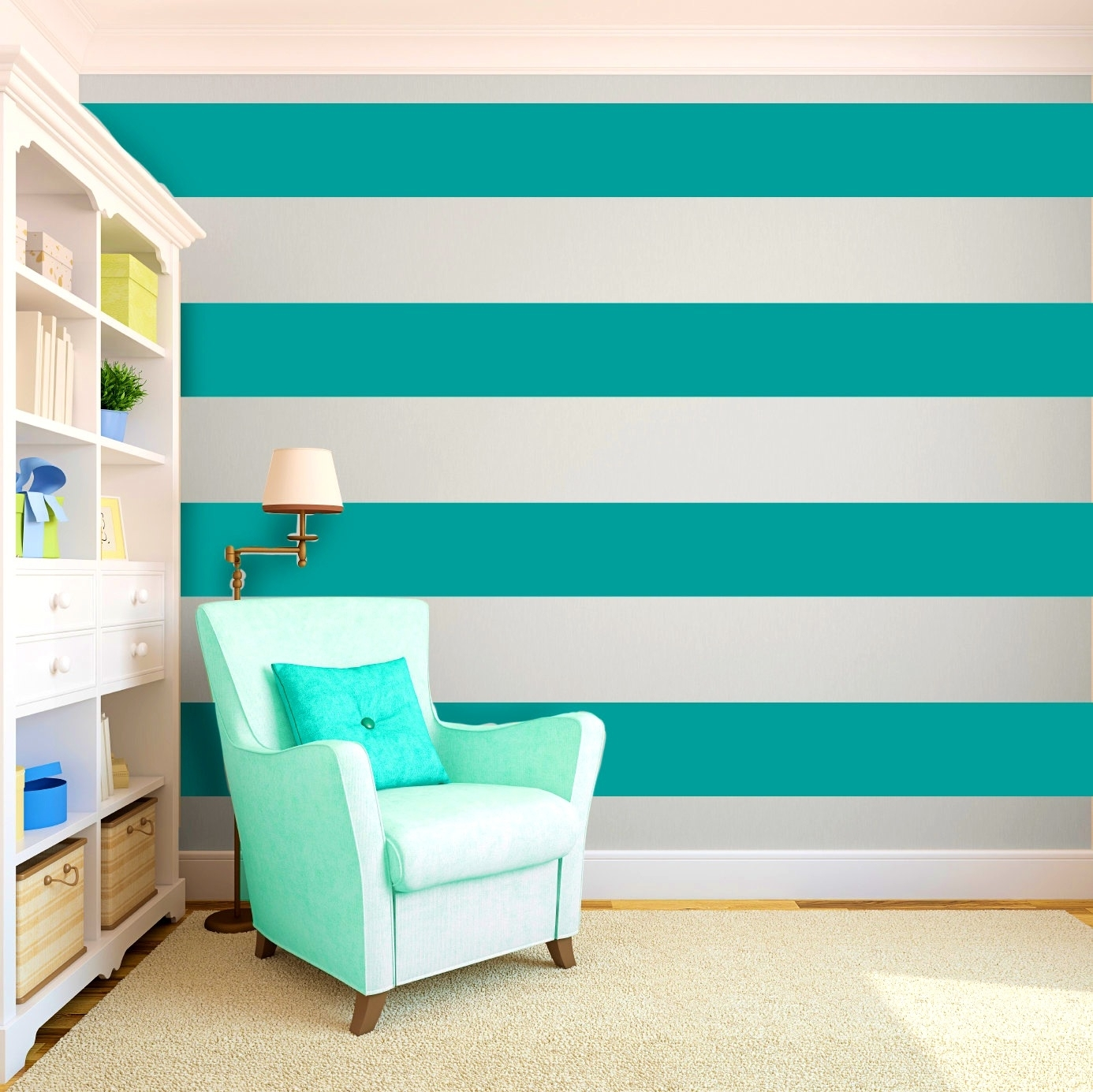Bathroomappealing Cool Painting Ideas That Turn Walls And Ceilings With 2017 Horizontal Stripes Wall Accents (View 2 of 15)