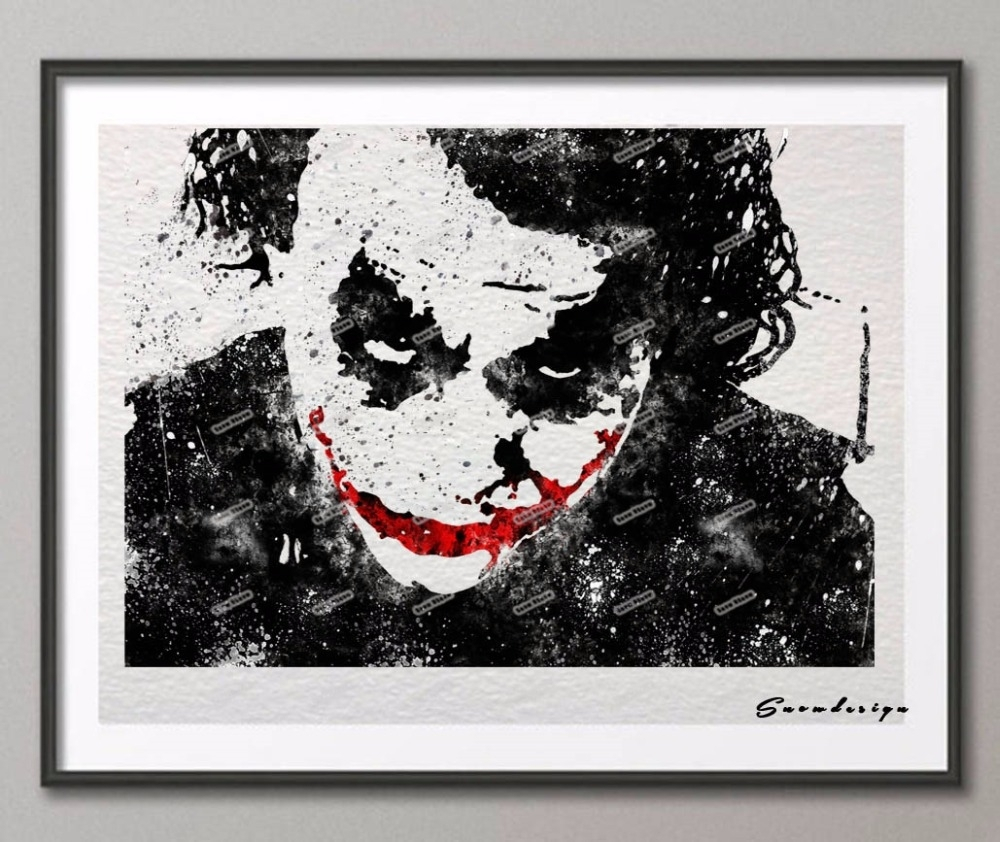 Batman Heath Ledger Joker Original Watercolor Canvas Painting For Newest Joker Canvas Wall Art (View 10 of 15)