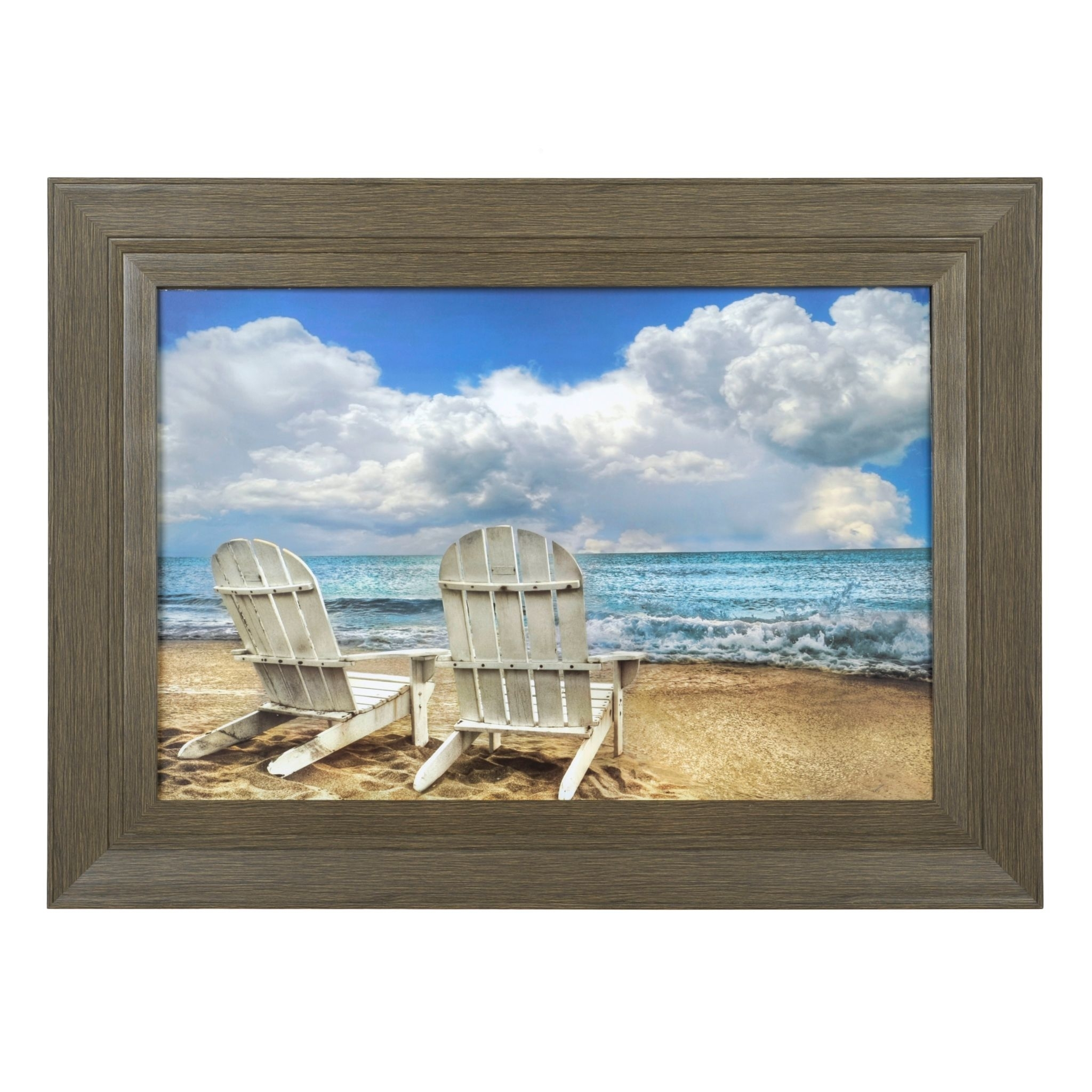 Beach Chairs Framed Art Print | Beach Chairs, Beach And Spaces In Current Framed Beach Art Prints (View 1 of 15)