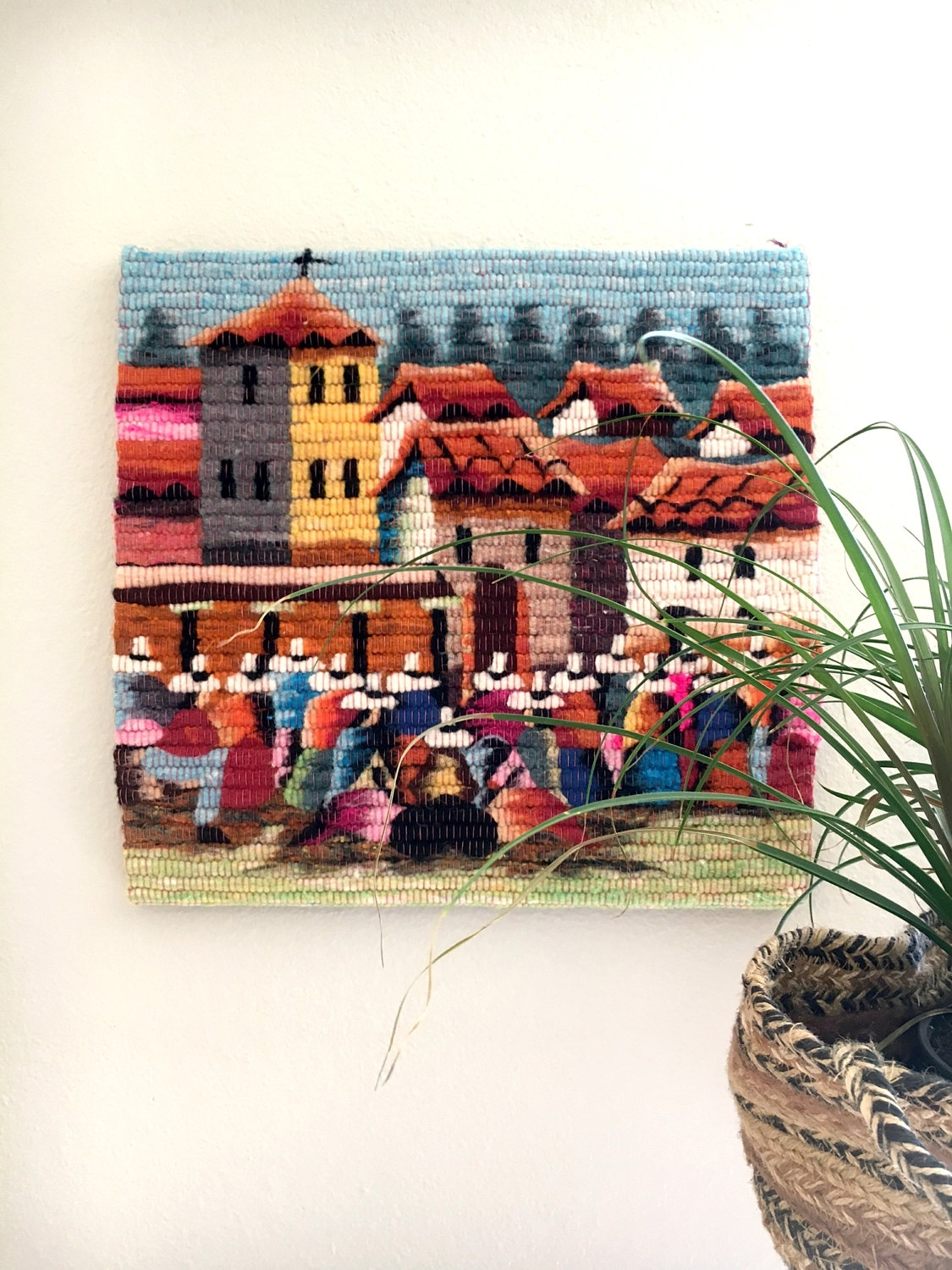 Beautiful Hand Woven Wool Village Scene Wall Hanging / Colorful Throughout Most Up To Date Vintage Textile Wall Art (View 2 of 15)