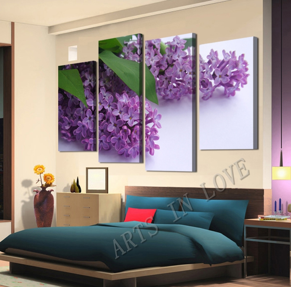Beautiful Purple Flower Canvas Wall Art For Living Or Bedroom Regarding Most Recently Released Purple Flowers Canvas Wall Art (View 3 of 15)