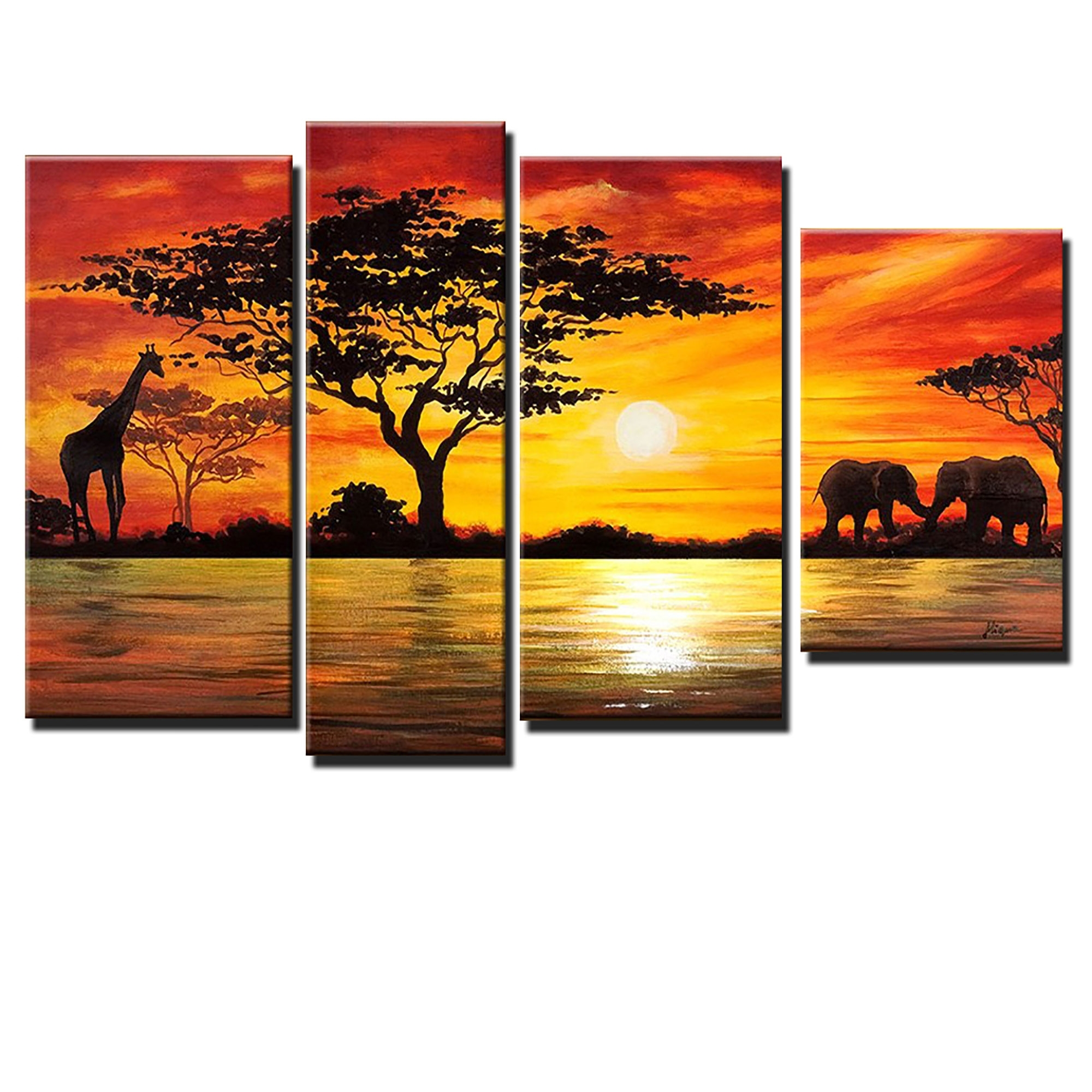 Beauty Of Africa Landscape Canvas Wall Art Oil Painting | Lovely With Regard To Recent Landscape Canvas Wall Art (View 6 of 15)