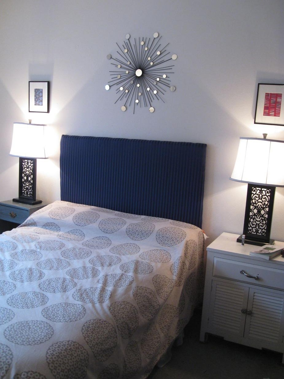 Bedroom: Attractive Picture Of Slate Blue Bedroom Decoration Using In 2018 Fabric Wall Art Above Bed (View 3 of 15)