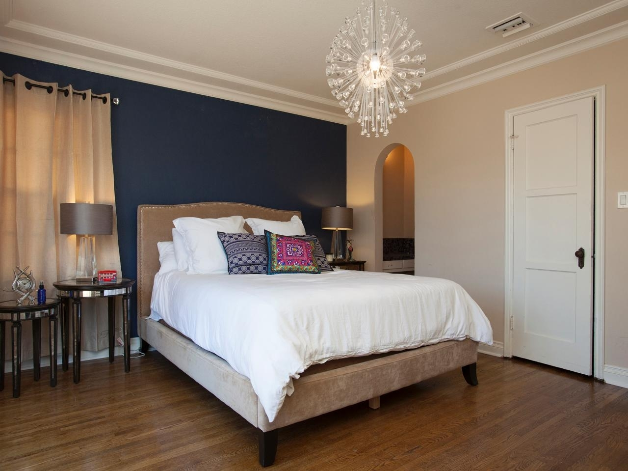 Bedroom | Dark Blue Wall Accent With Burlywood Color Base Intended For Best And Newest Blue Wall Accents (View 5 of 15)
