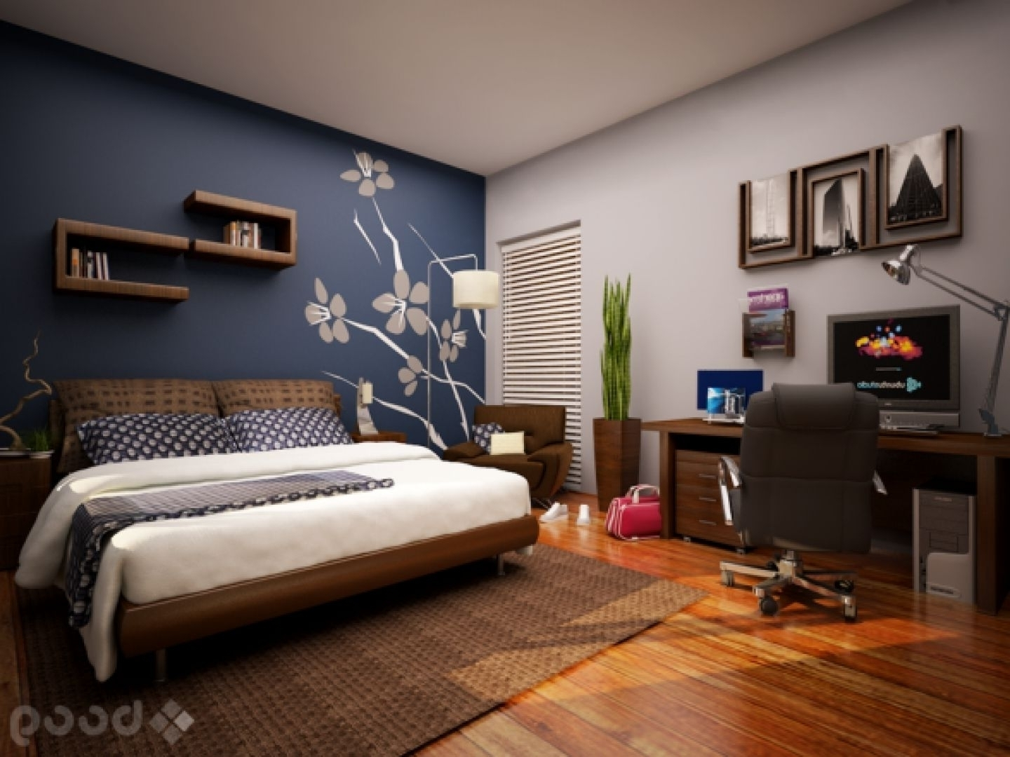 Bedroom Design: Accent Wall Ideas For Small Bedroom Awesome In Latest Wall Accents For Small Bedroom (View 2 of 15)