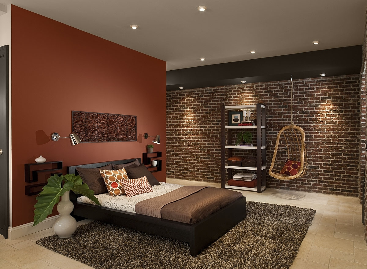 Bedroom Design: Red Black And White Bedroom Ideas Red Wall Decor In Current Brown Wall Accents (View 4 of 15)