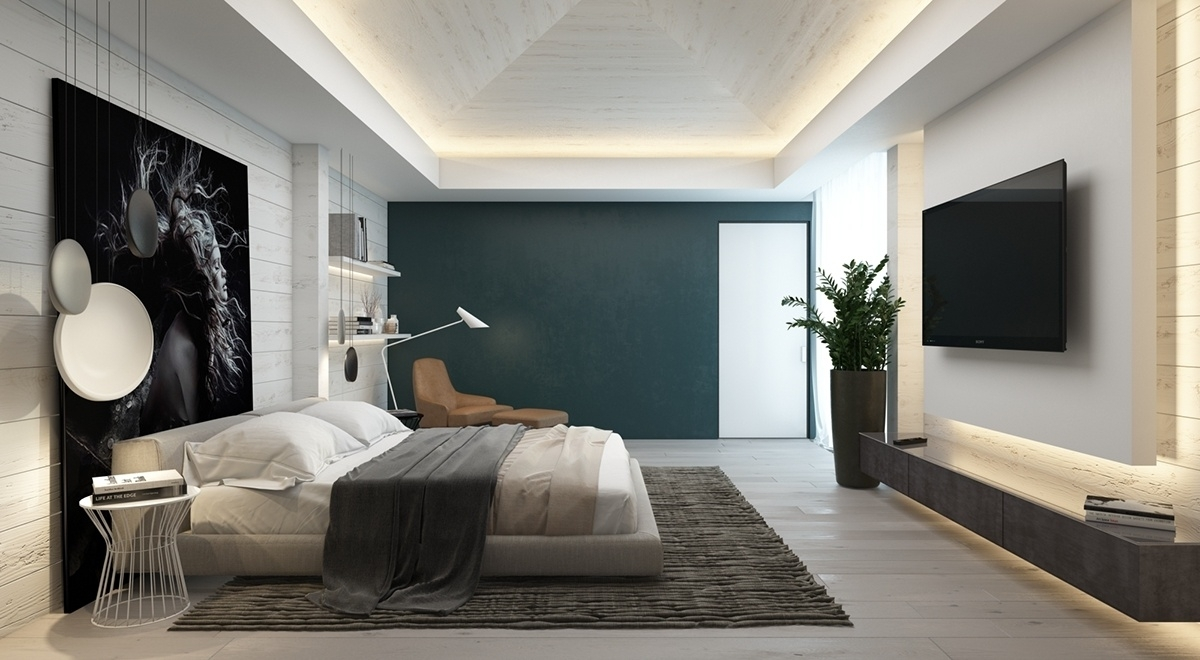Bedroom Design: Wood Focal Wall Feature Wall Colours Green Accent With Regard To Current Gray Wall Accents (View 9 of 15)