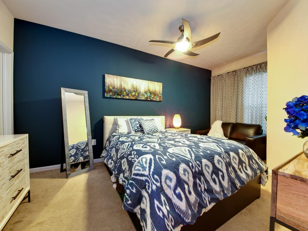 Bedroom : Incredible Bedroom Design With Dark Blue Accent Wall Within Most Popular Wall Accents Colors For Bedrooms (View 3 of 15)