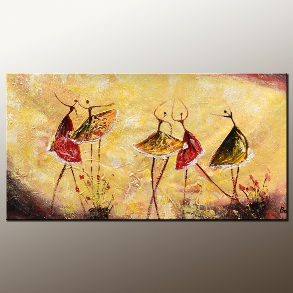 Bedroom Wall Art, Abstract Painting, Ballet Dancer Painting Regarding 2017 Oil Paintings Canvas Wall Art (View 10 of 15)