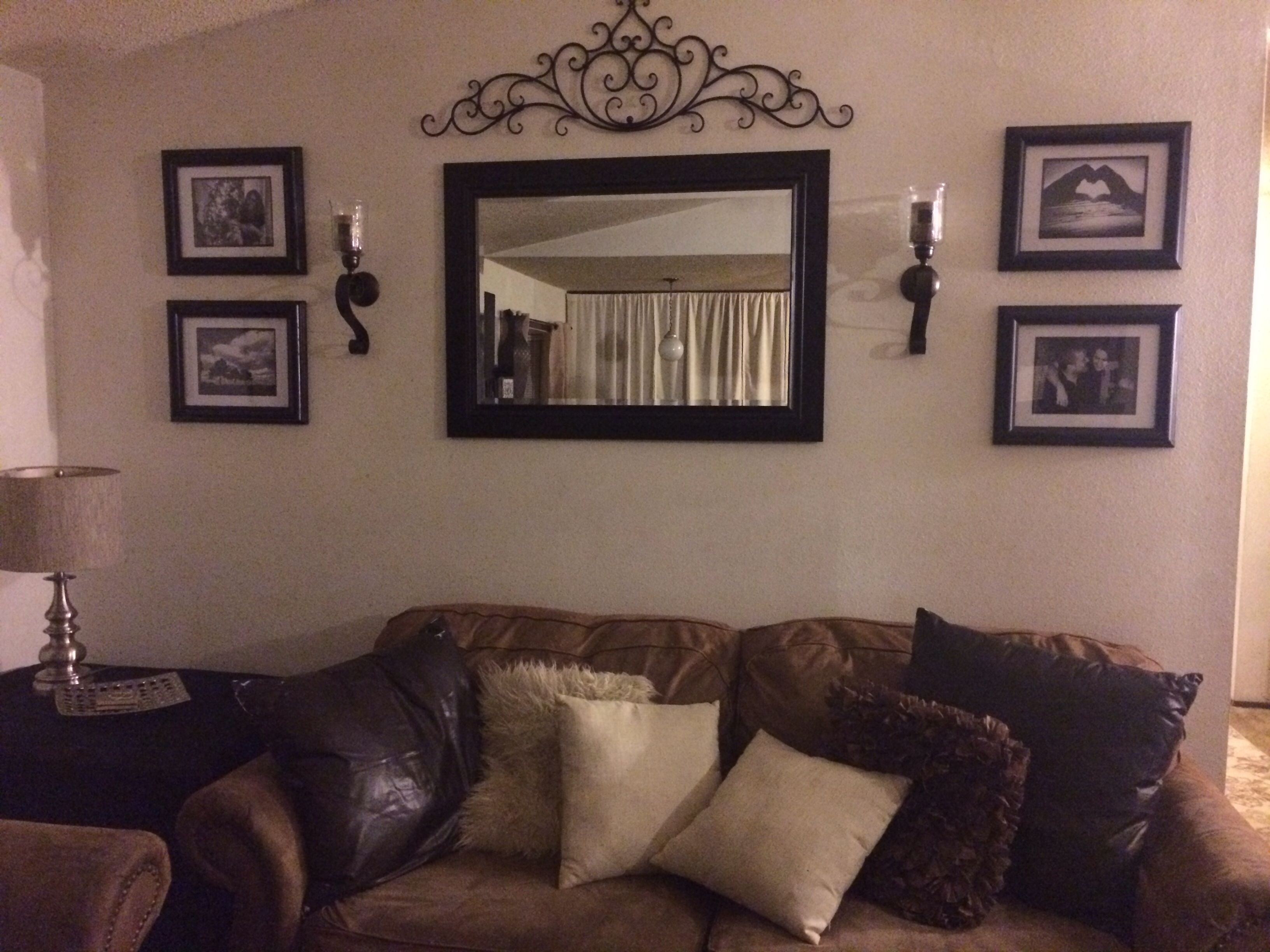 Behind Couch Wall In Living Room Mirror, Frame, Sconces, And Metal In Newest Wall Accents Behind Tv (View 7 of 15)