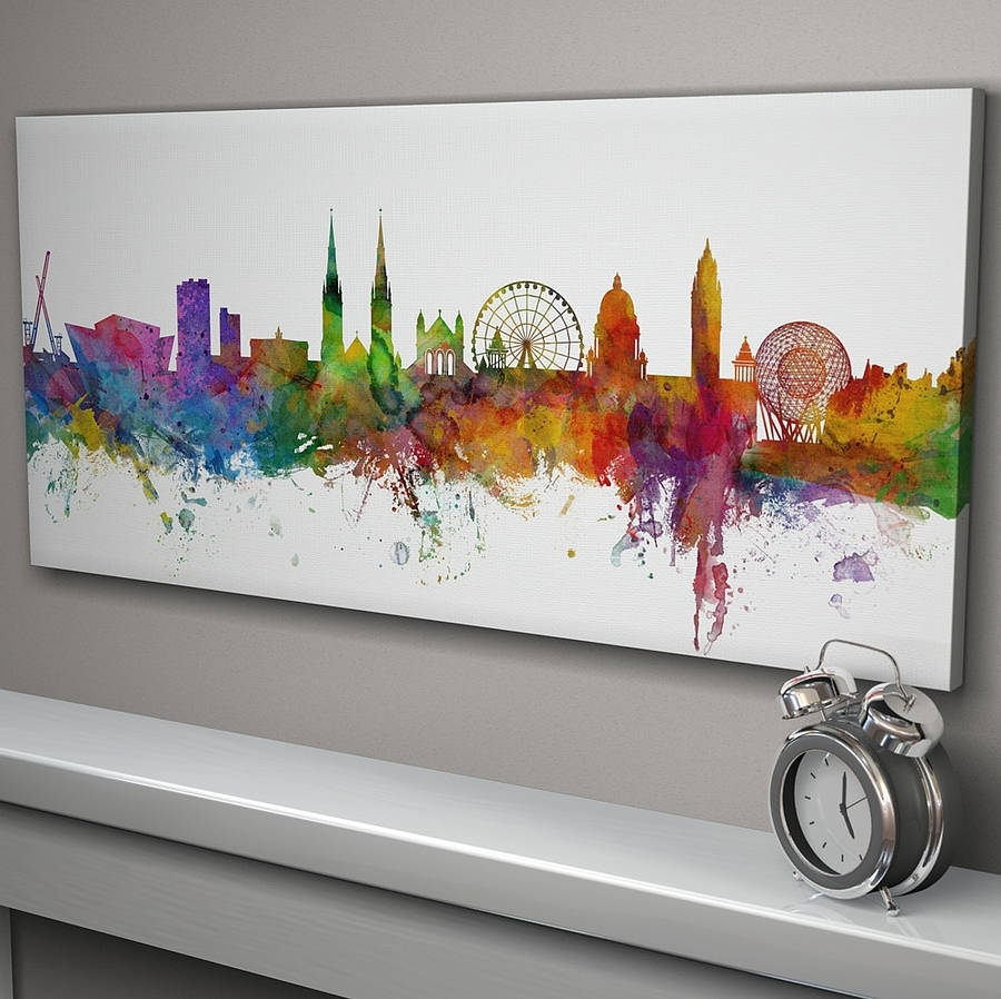 Belfast Skyline Cityscapeartpause | Notonthehighstreet Pertaining To Most Popular Ireland Canvas Wall Art (View 14 of 15)