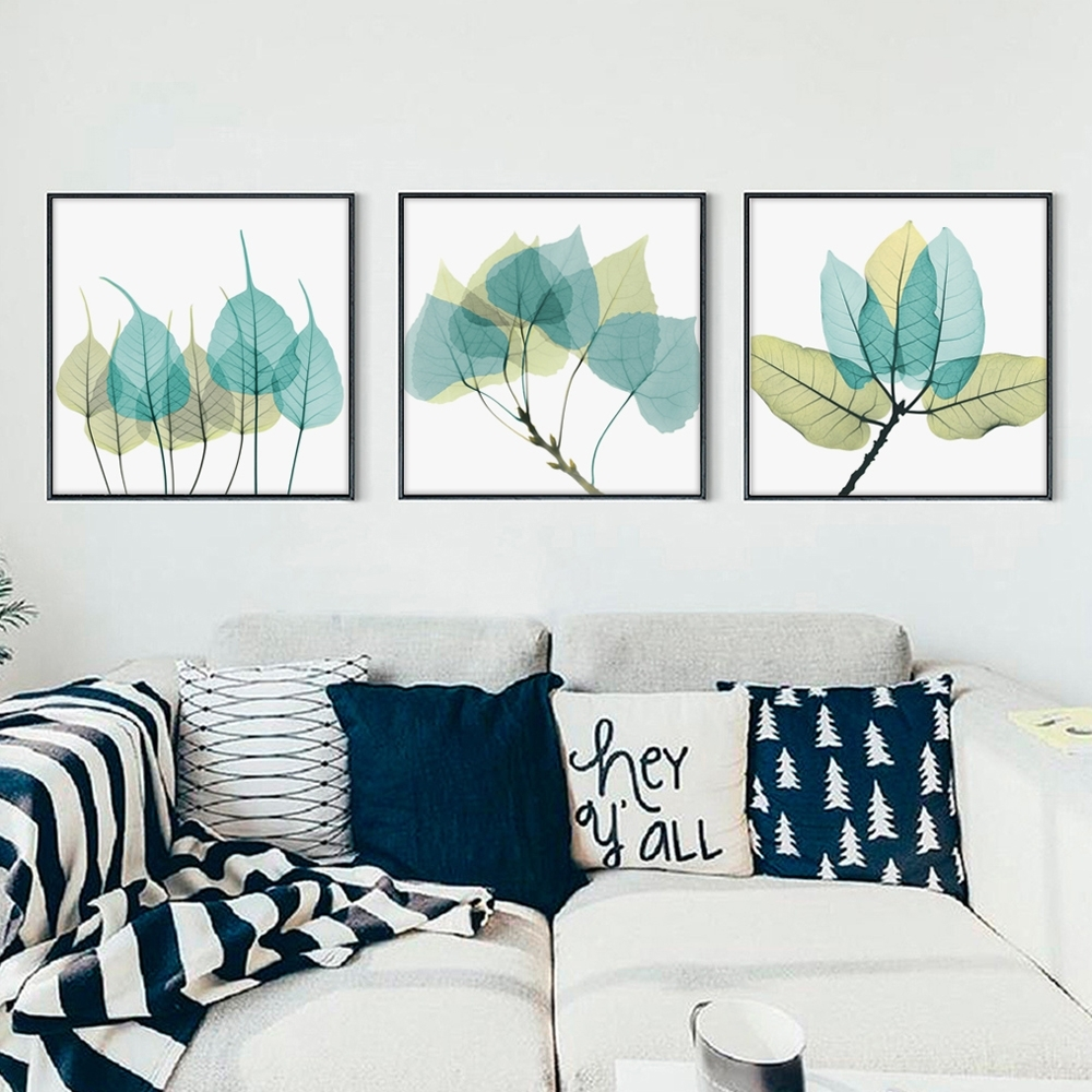 Bianche Wall Modern Minimalist Transparent Leaves Canvas Painting Intended For Most Popular Leaves Canvas Wall Art (View 9 of 15)