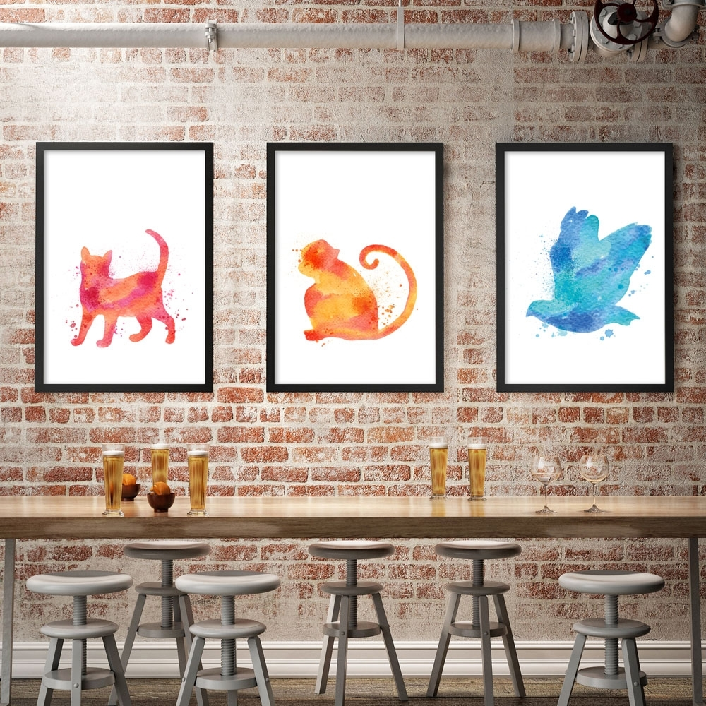 Bianche Wall Modern Simple Watercolor Animals A4 Canvas Painting Throughout 2017 Funky Art Framed Prints (View 3 of 15)