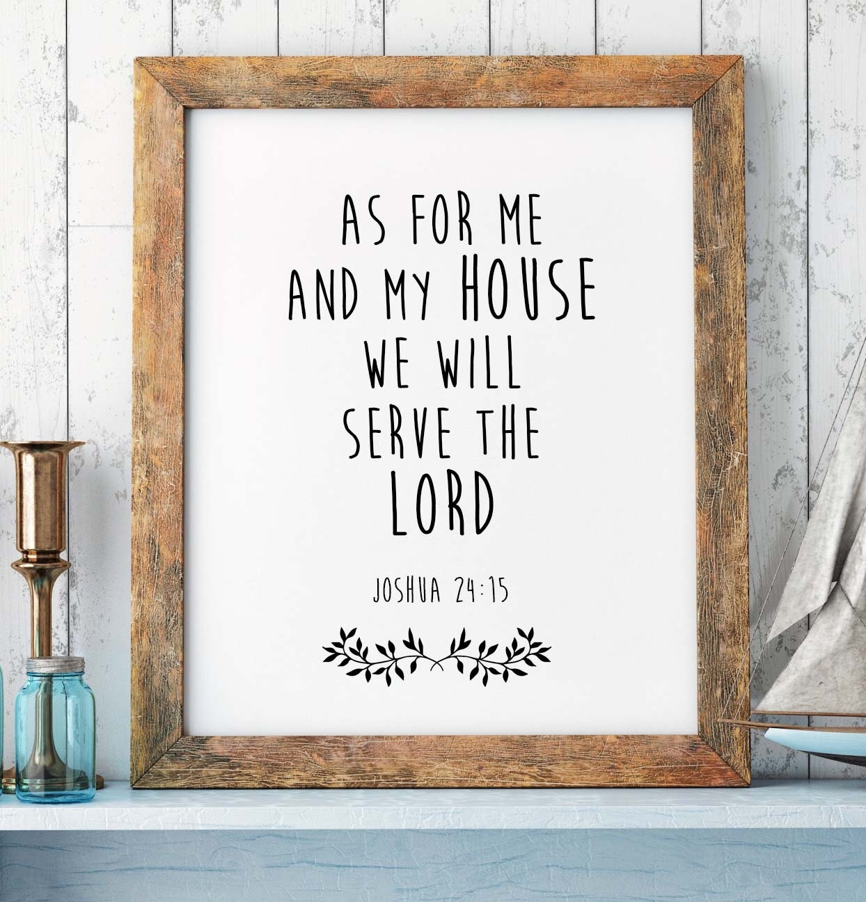 Bible Verse Print, Joshua 24:15, Scripture Print, Christian Wall Within 2018 Christian Framed Art Prints (View 11 of 15)