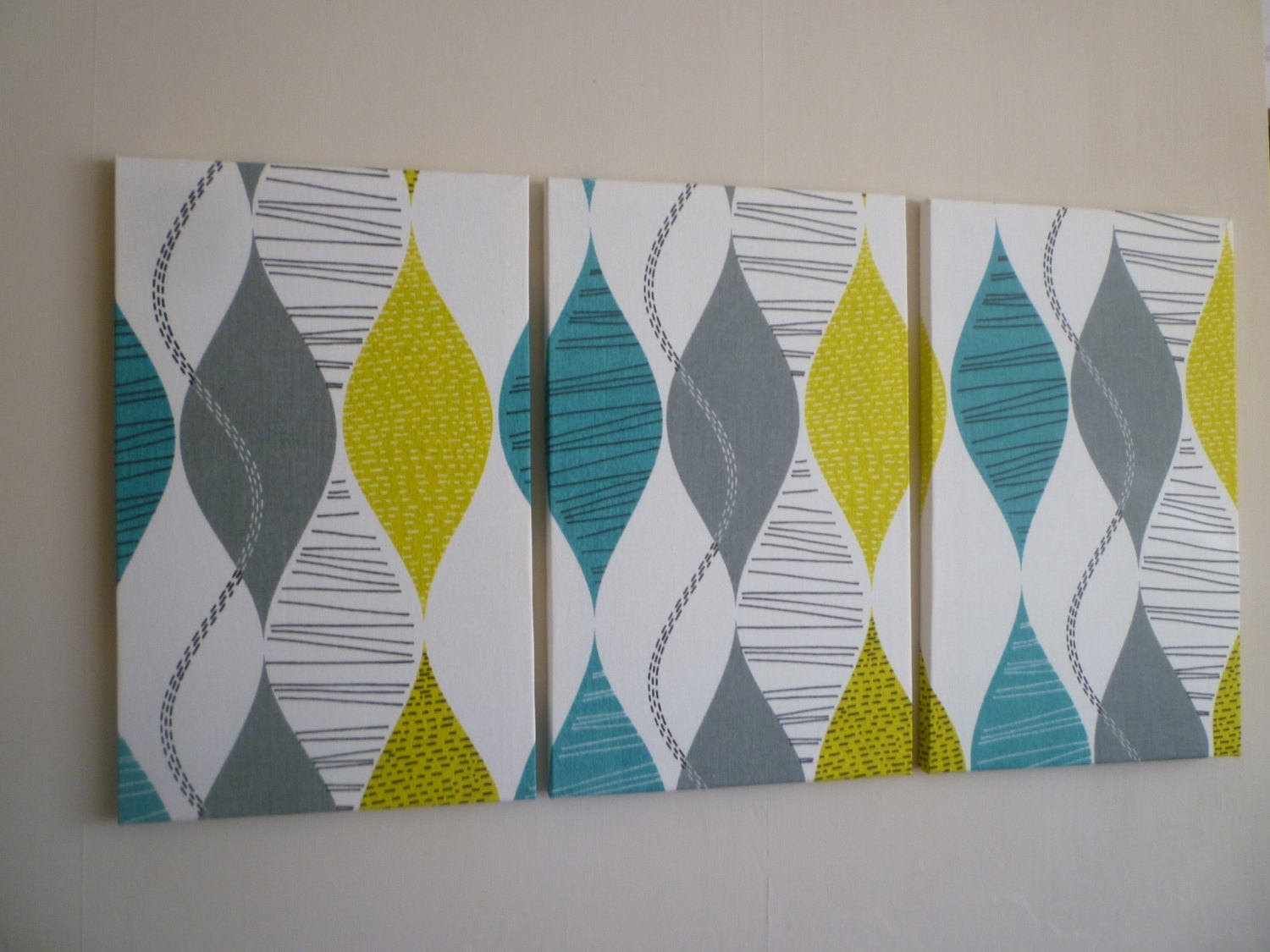 Big Fabric Wall Art Teal Lime Green Triptych 3 Piece Modern Intended For 2018 Modern Fabric Wall Art (View 1 of 15)