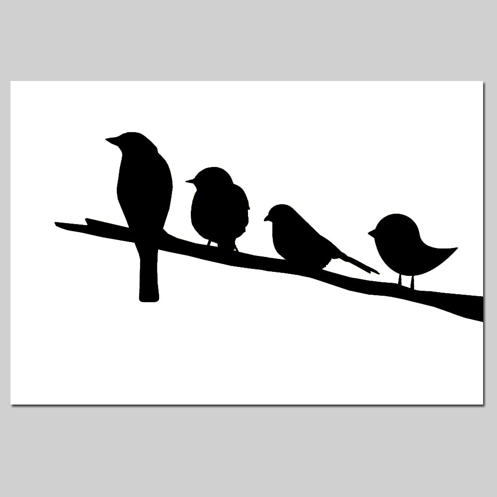 Birds On A Branch Nursery Decor – 11X17 Nursery Art Print – Choose Within Most Current Fabric Animal Silhouette Wall Art (View 3 of 15)