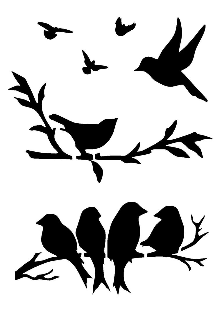 Birds Stencil 3 … | Pinteres… For 2017 Fabric Animal Silhouette Wall Art (View 4 of 15)