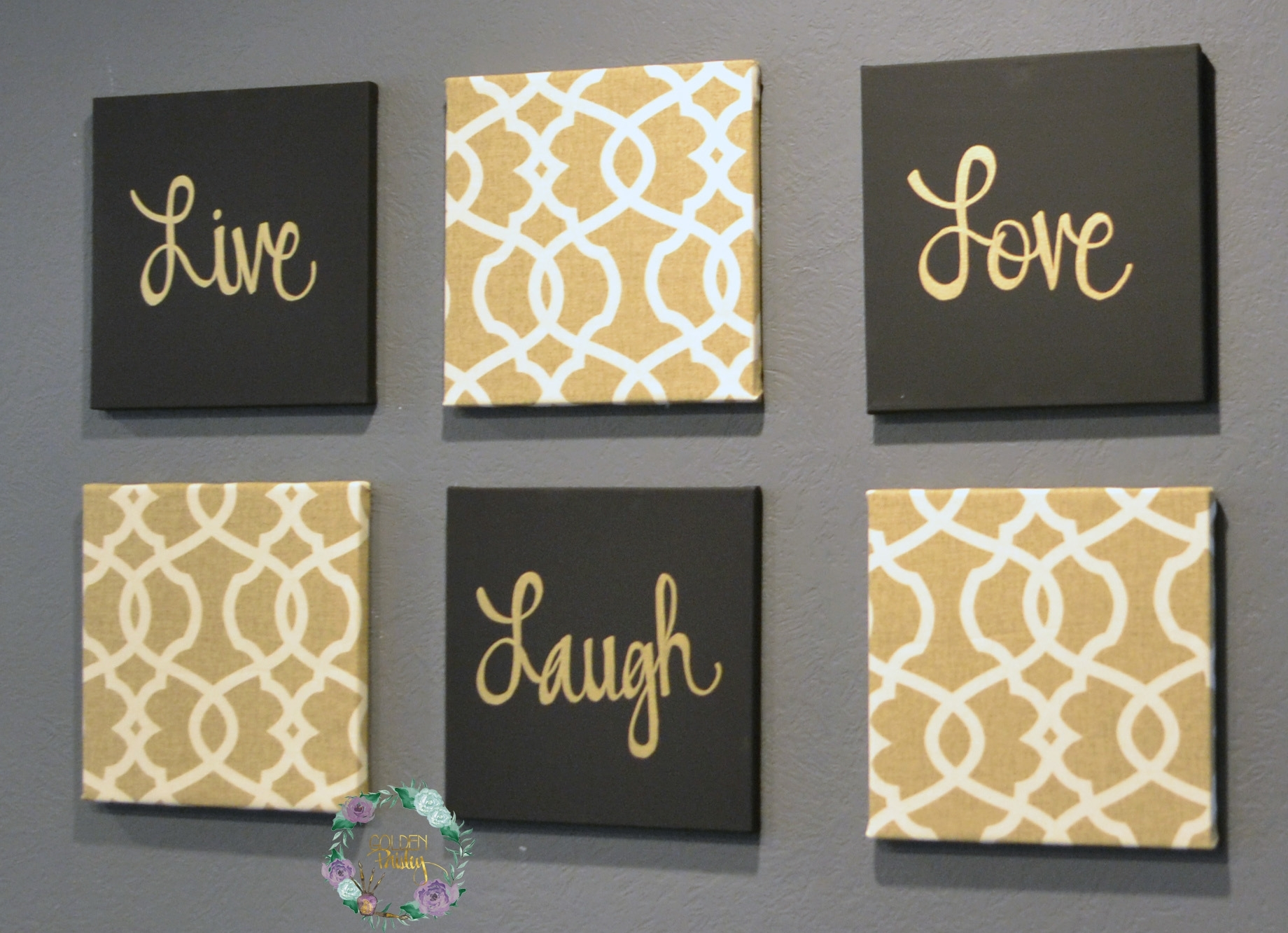 Black And Gold Eat Drink Be Merry Chic Wall Art Set With Regard To 2017 Eat Canvas Wall Art (View 2 of 15)