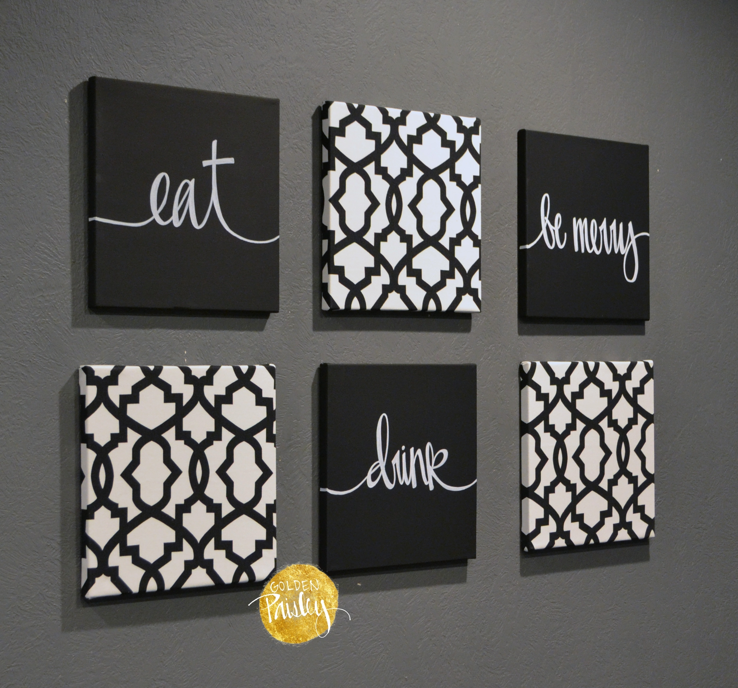 Black And White Trellis 6 Pack Wall Art With Regard To Current Black And White Fabric Wall Art (View 3 of 15)