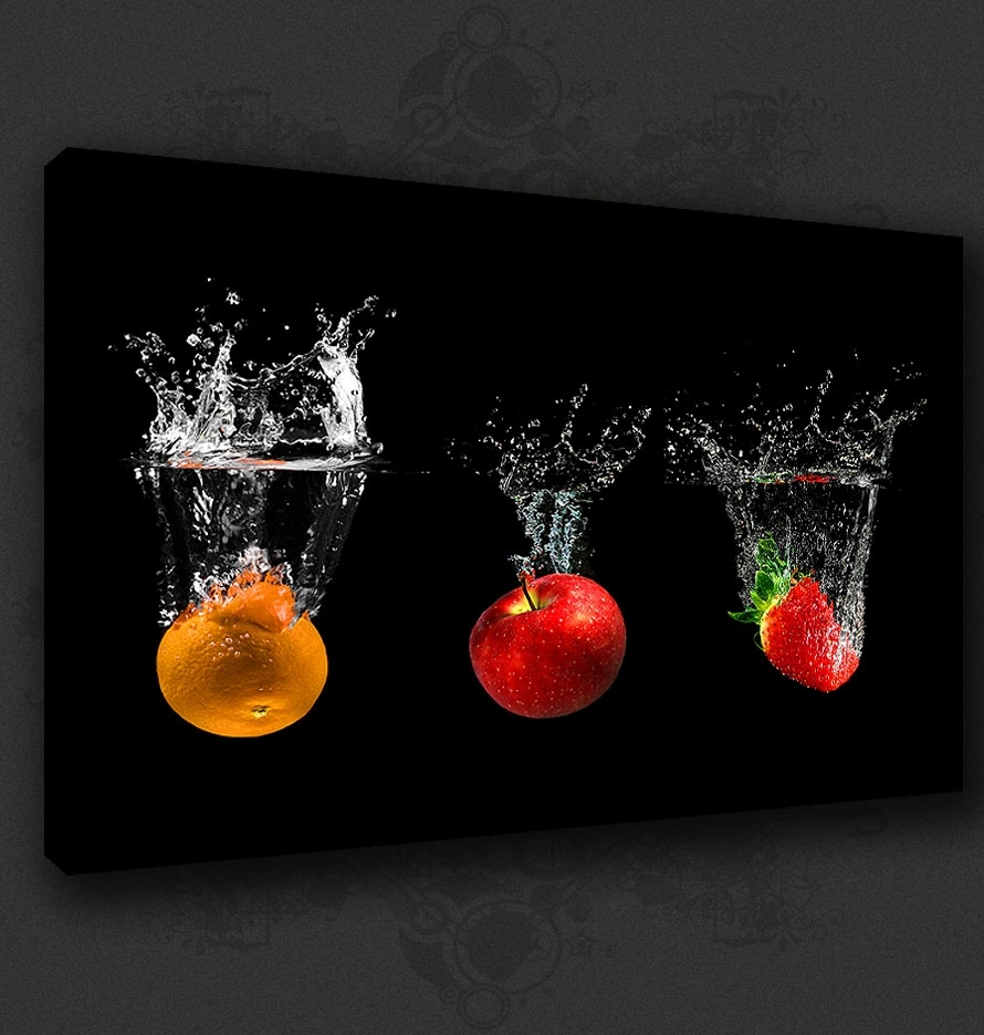 Black Fruits Splash Modern Kitchen Art Canvas Print Poster Many Throughout 2018 Kitchen Canvas Wall Art (View 4 of 15)