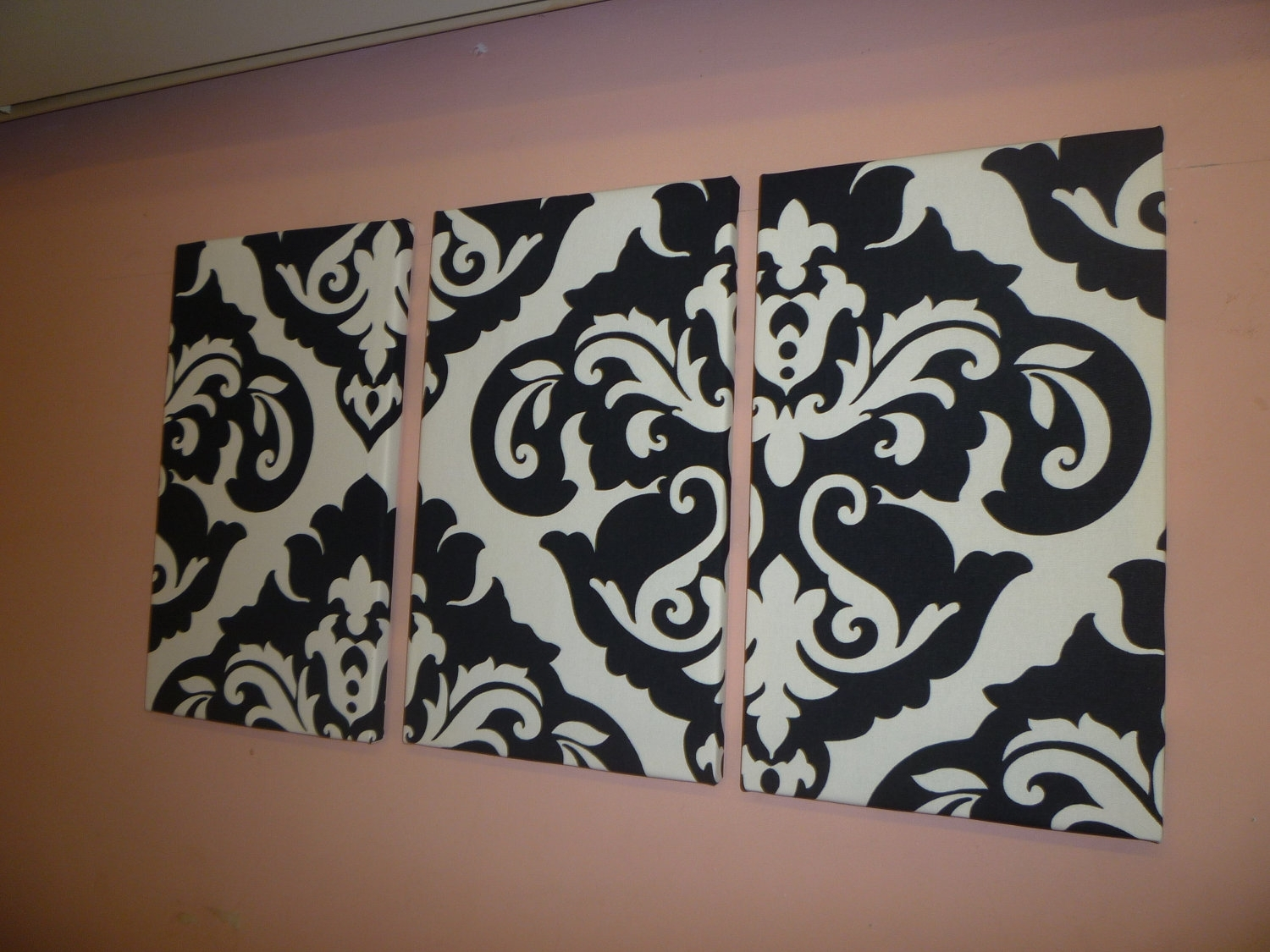 Black White Damask Fabric Wall Art Funky Retro Wickedwalls – Dma Intended For Most Recently Released Damask Fabric Wall Art (View 2 of 15)