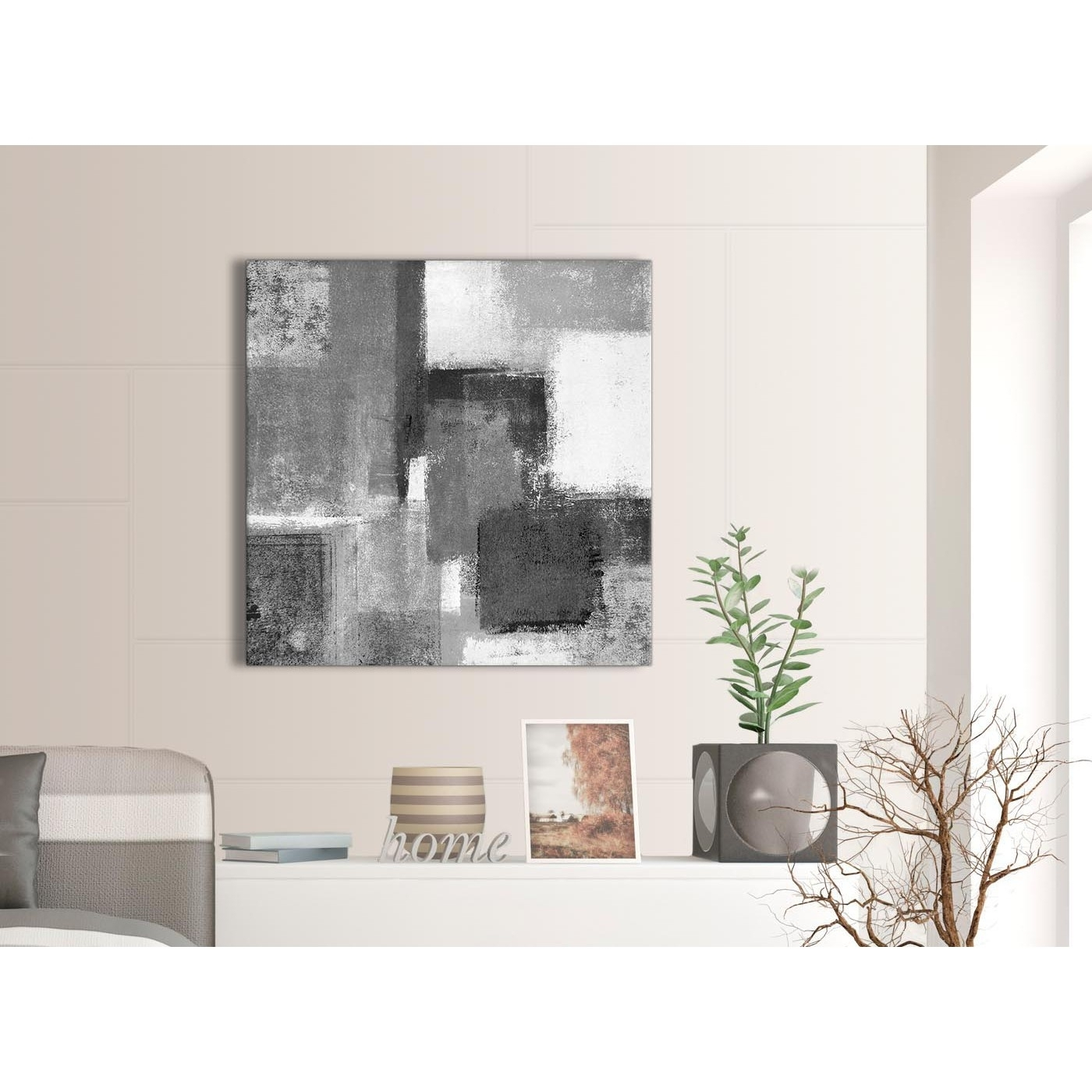 Black White Grey Abstract Office Canvas Wall Art Decorations Throughout Most Up To Date Grey Canvas Wall Art (View 6 of 15)
